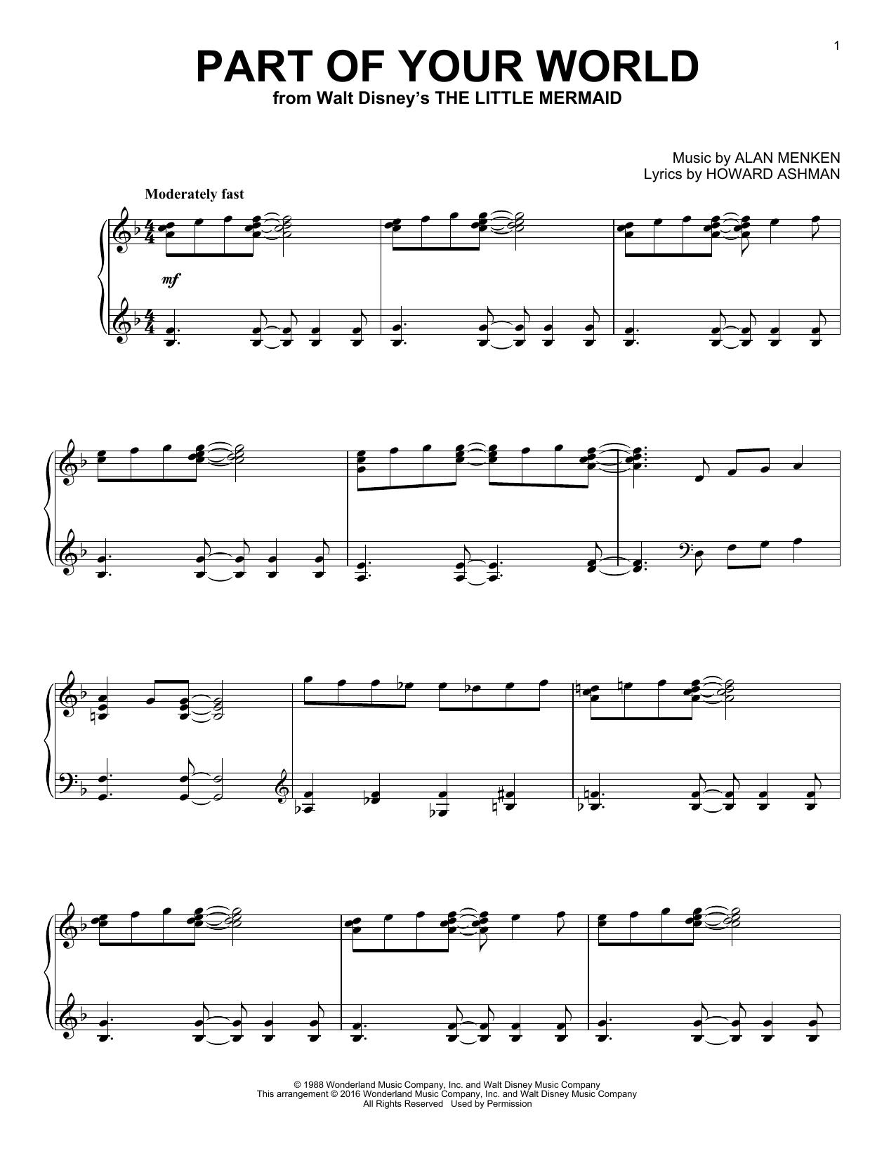 Partition piano Part Of Your World de Alan Menken - Piano Solo