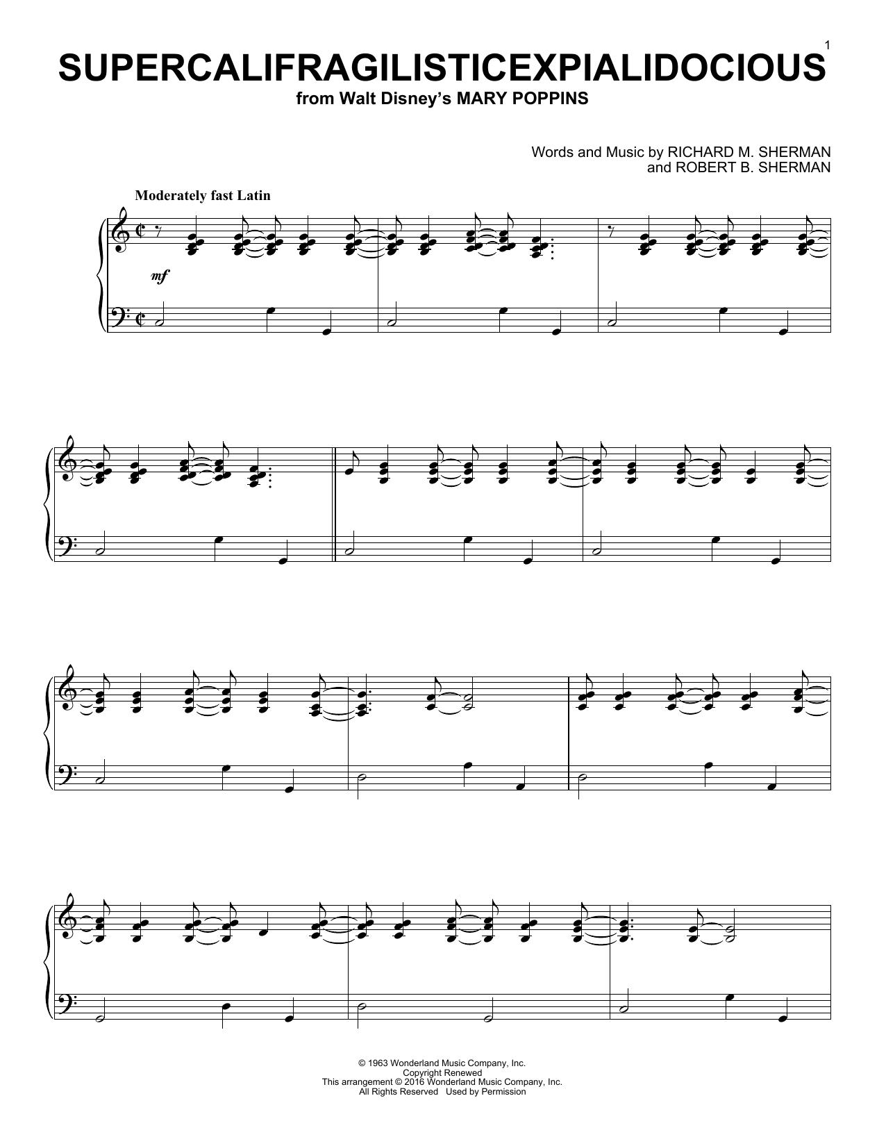 Partition piano Supercalifragilisticexpialidocious de Sherman Brothers - Piano Solo