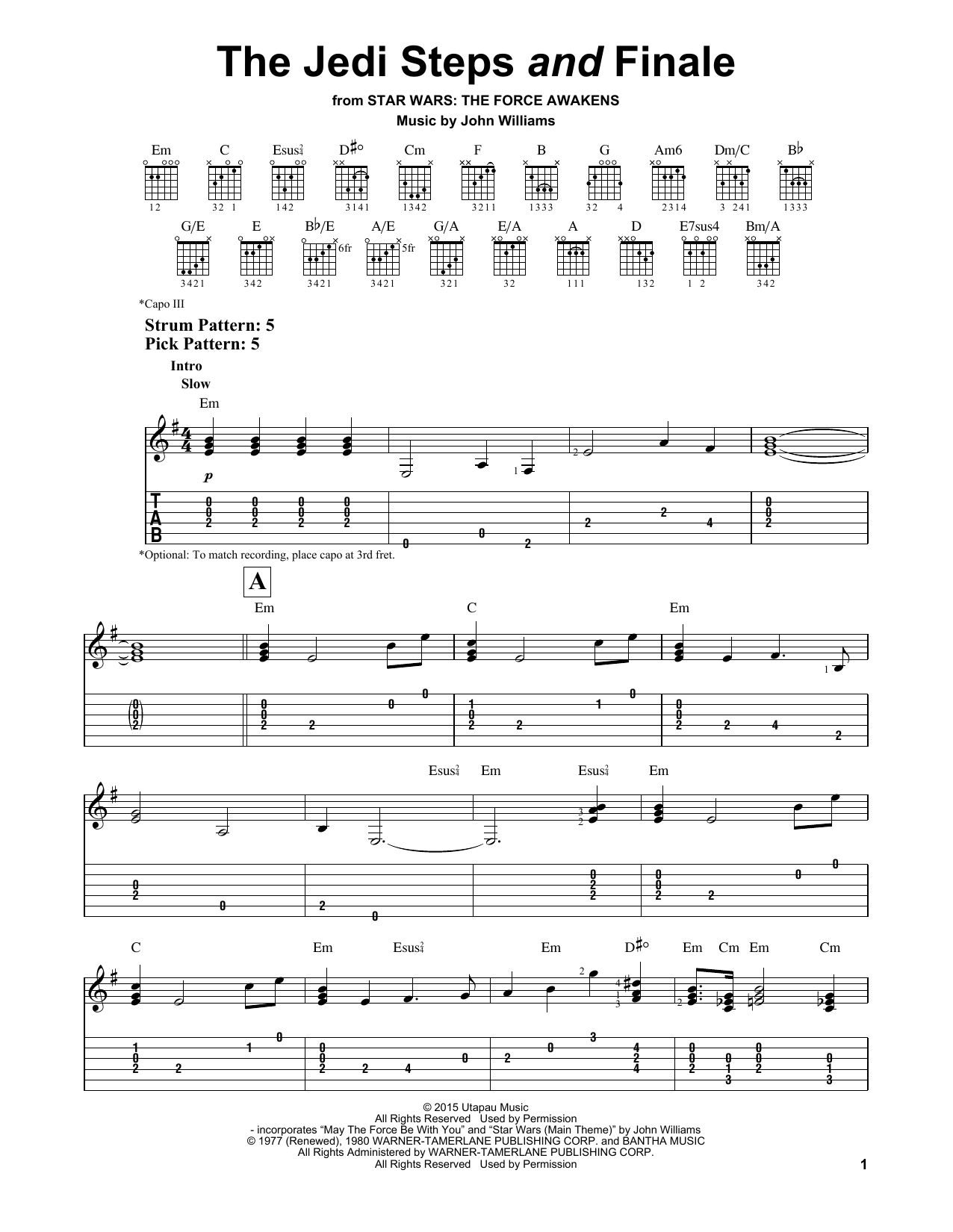Tablature guitare The Jedi Steps And Finale de John Williams - Tablature guitare facile