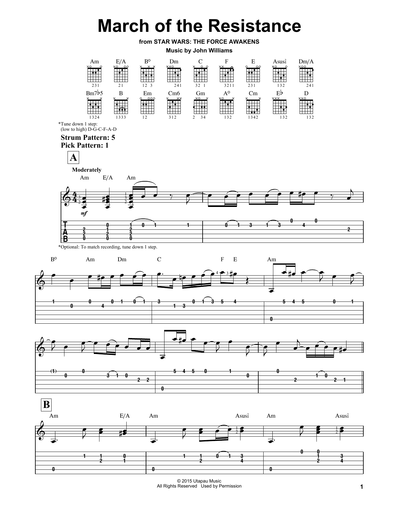 Tablature guitare March Of The Resistance de John Williams - Tablature guitare facile