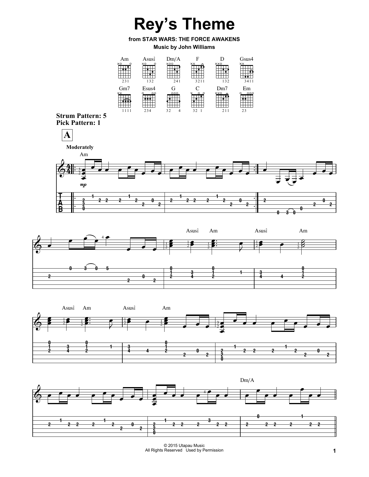 Tablature guitare Rey's Theme de John Williams - Tablature guitare facile