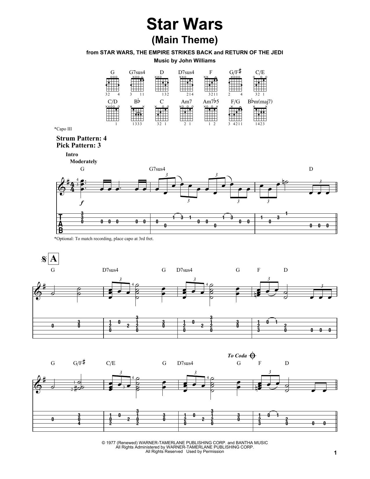 Tablature guitare Star Wars (Main Theme) de John Williams - Tablature guitare facile