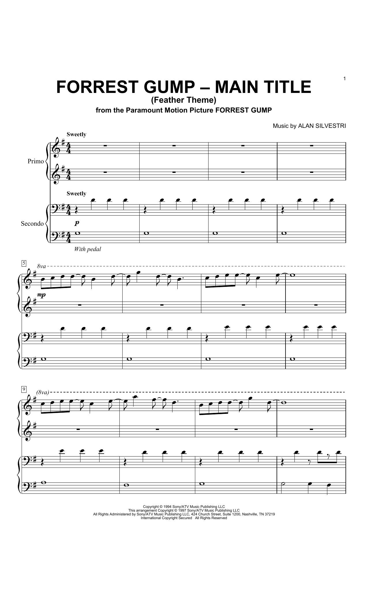 Partition piano Forrest Gump - Main Title (Feather Theme) de Alan Silvestri - 4 mains