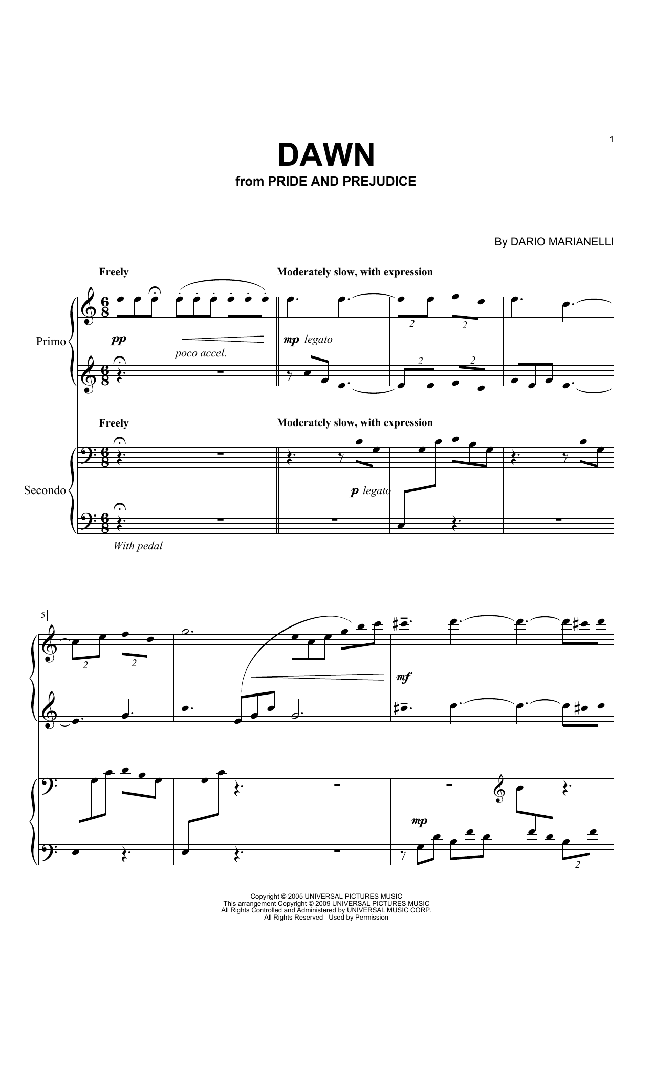 Partition piano Dawn de Dario Marianelli - 4 mains