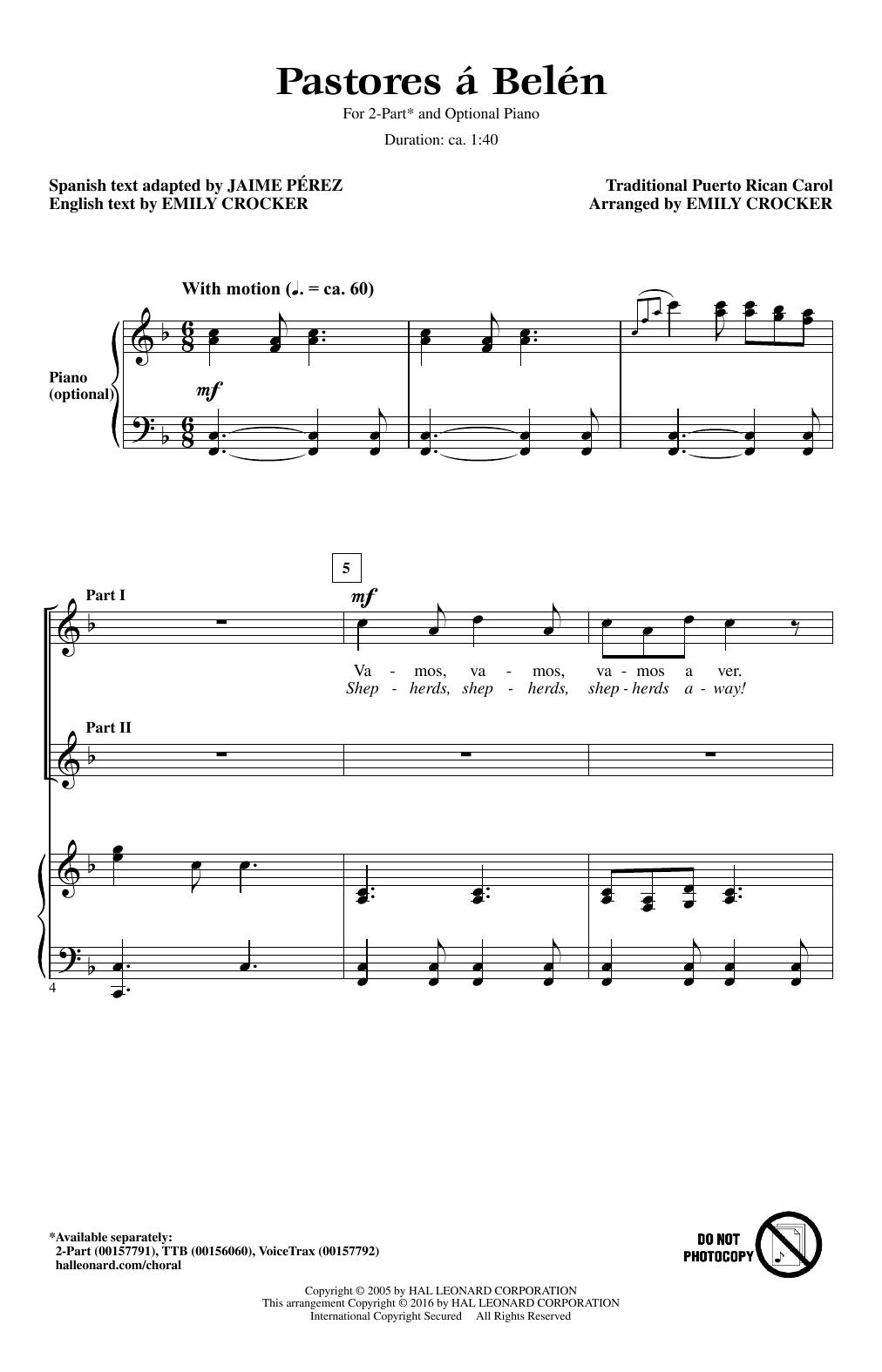 Partition chorale Pastores A Belen de Emily Crocker - 2 voix