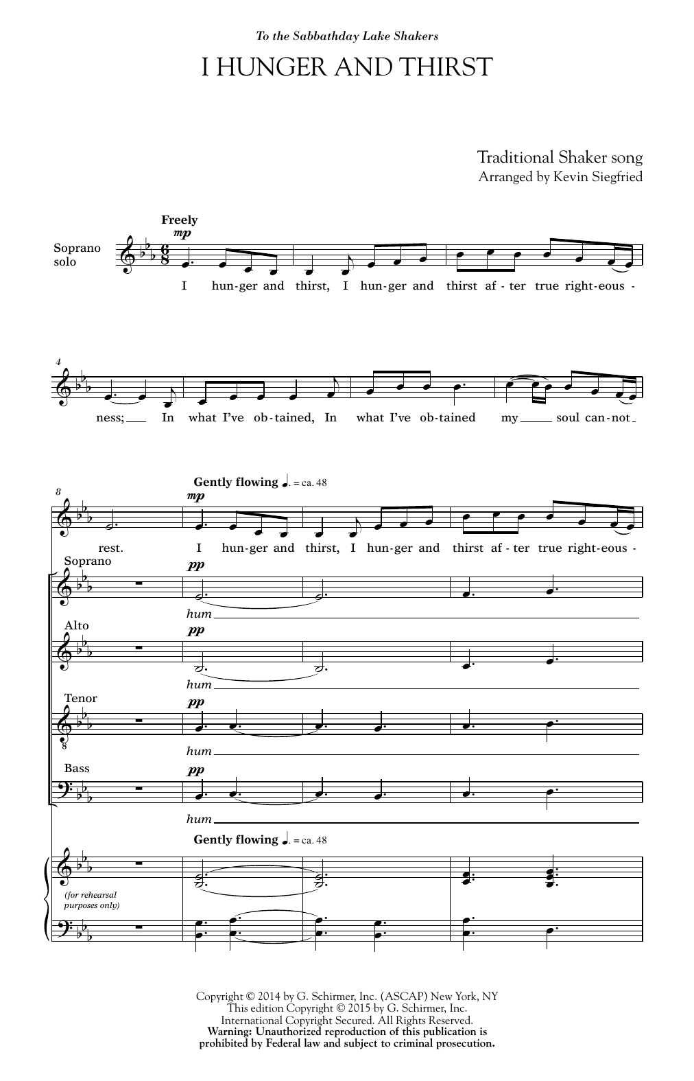 Partition chorale I Hunger And Thirst de  - SATB