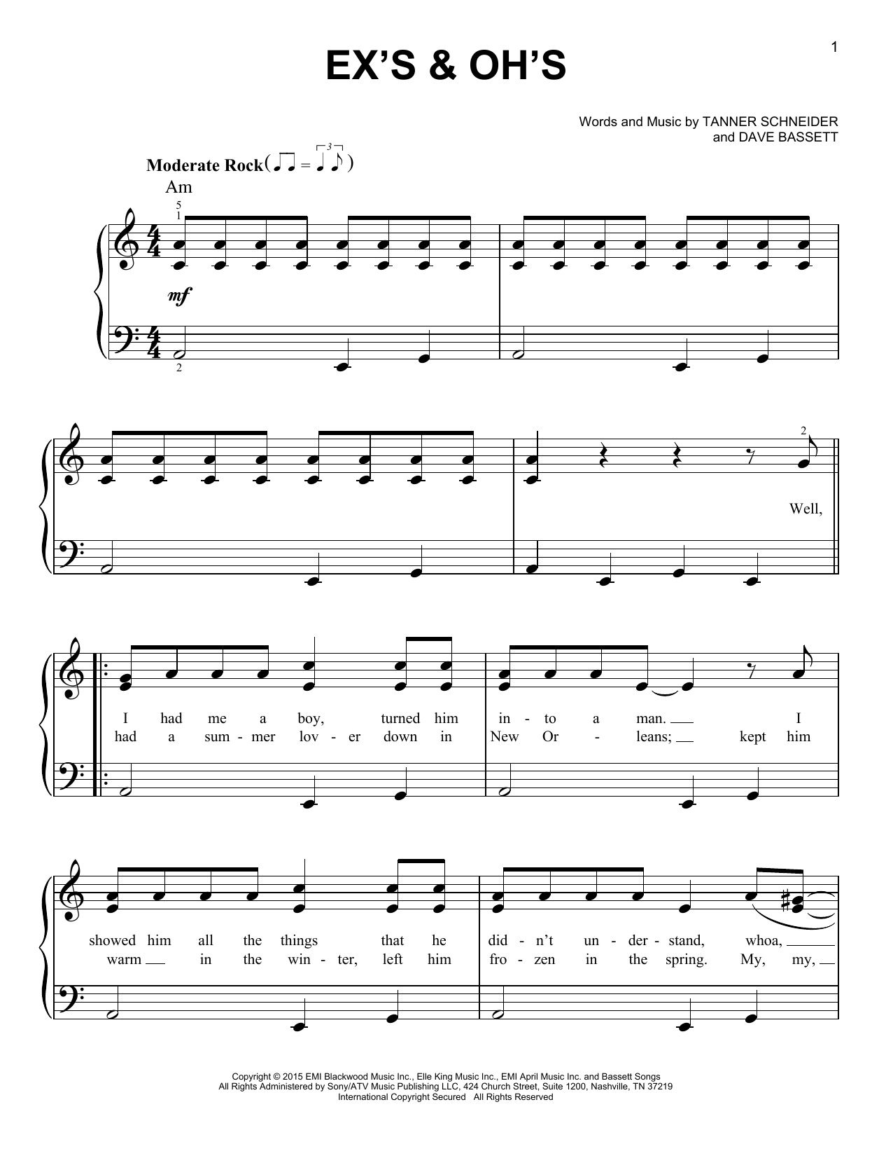 Partition piano Ex's & Oh's de Elle King - Piano Facile