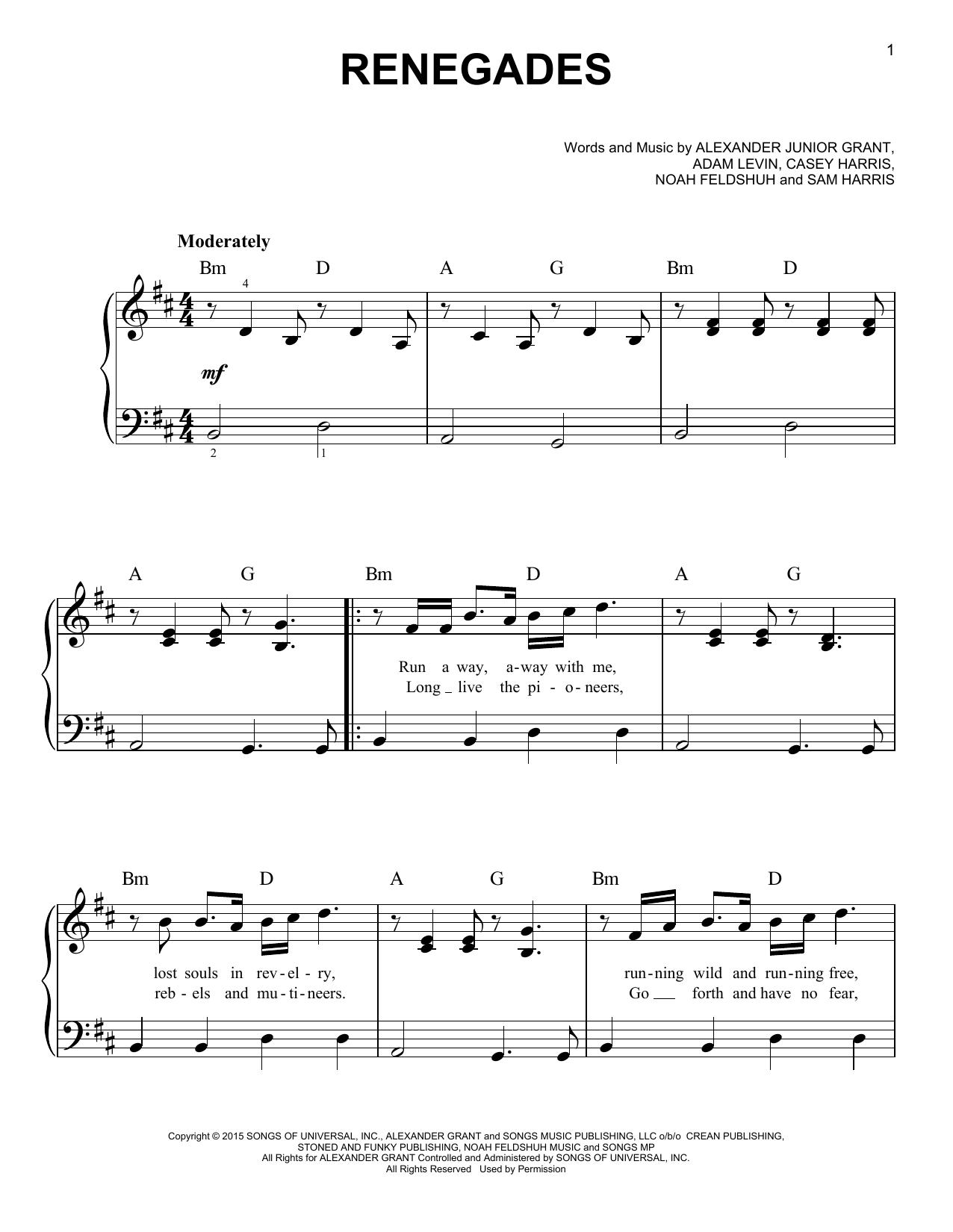 Partition piano Renegades de X Ambassadors - Piano Facile