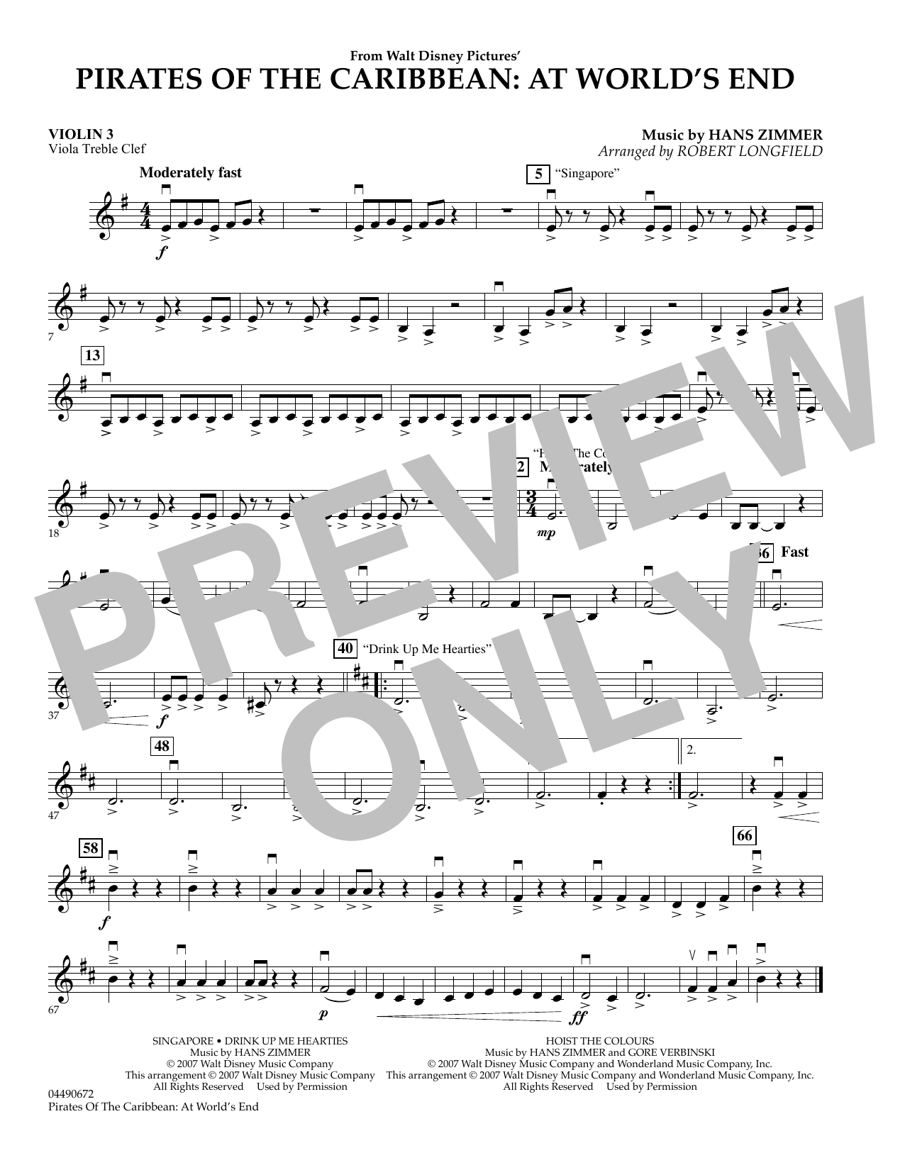 pirates of the caribbean viola sheet music