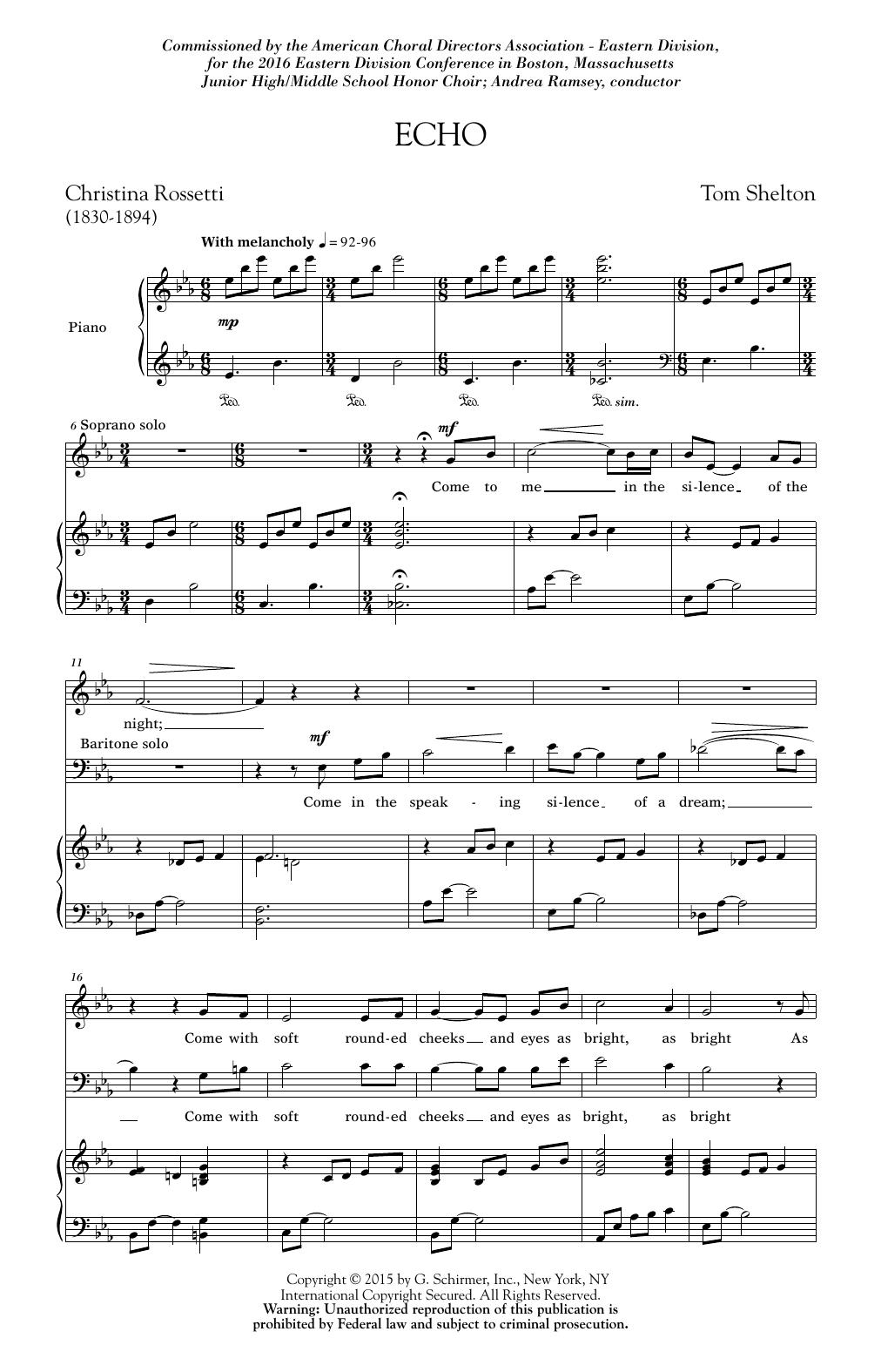 Partition chorale Echo de  - 2 voix