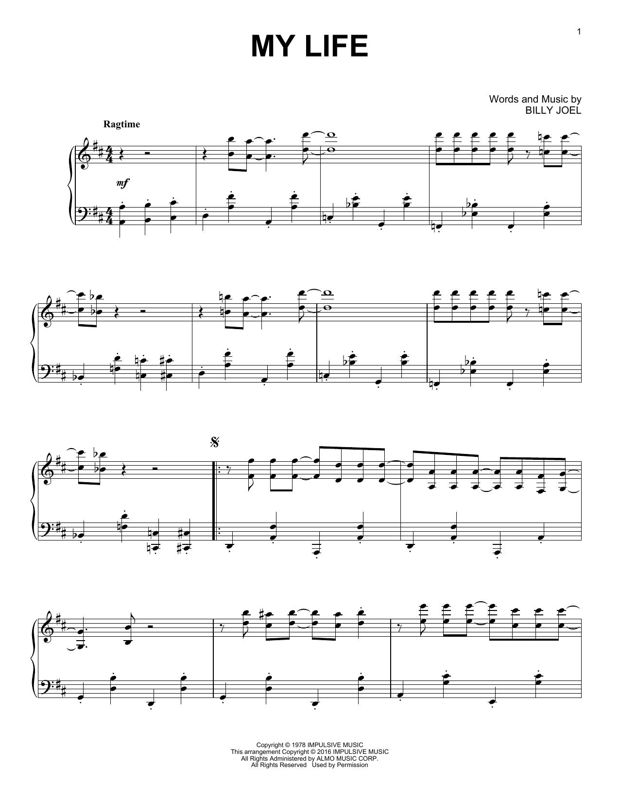 Partition piano My Life de Billy Joel - Piano Solo