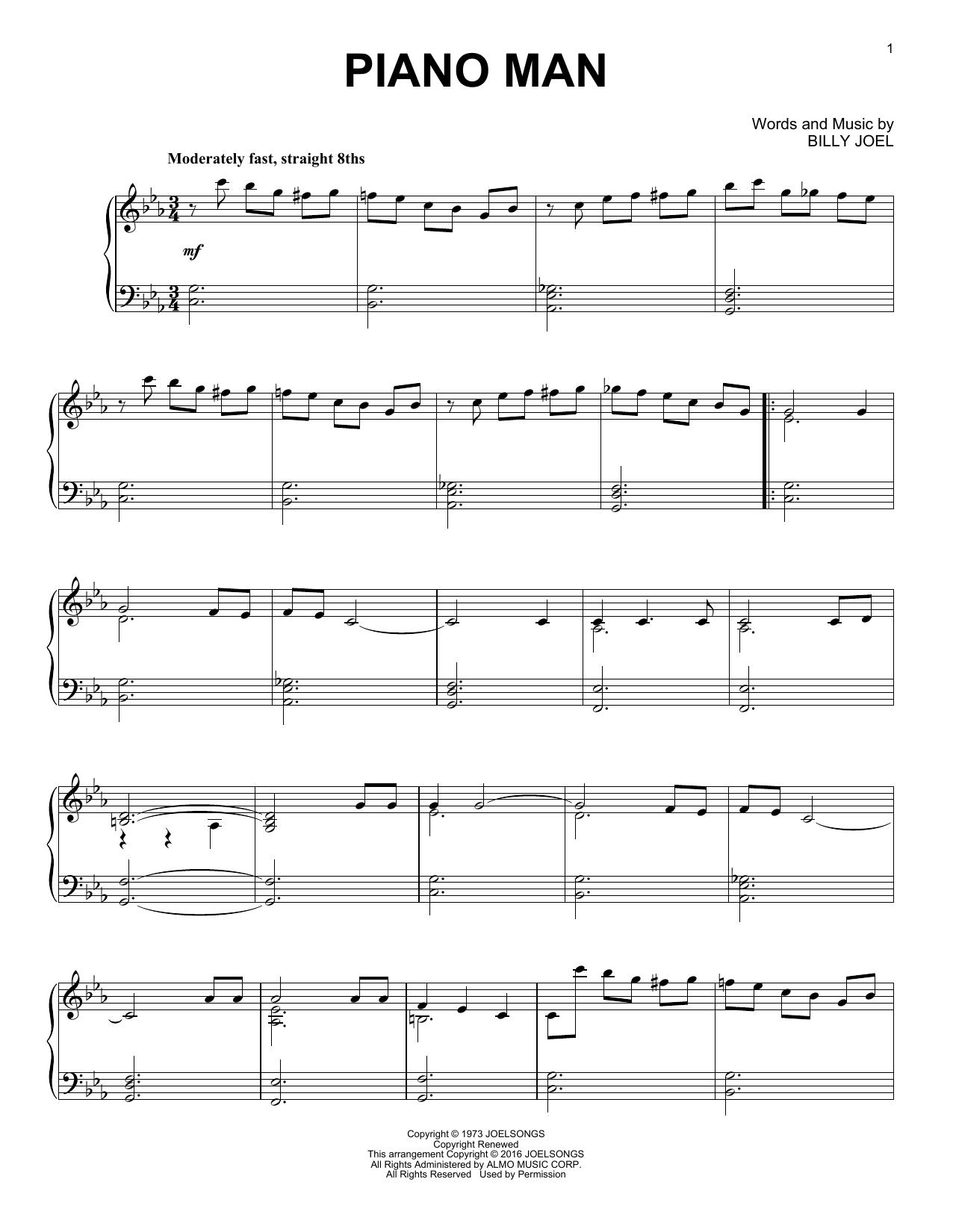 Partition piano Piano Man de Billy Joel - Piano Solo