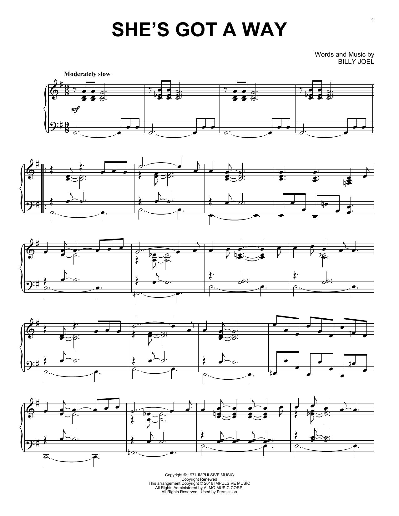 Partition piano She's Got A Way de Billy Joel - Piano Solo