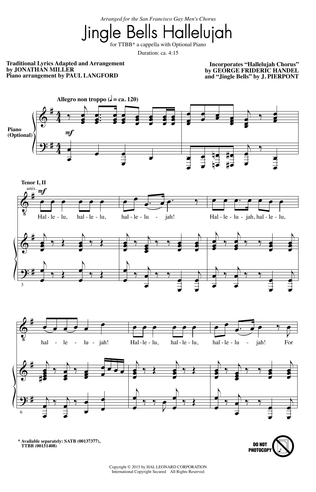 Partition chorale Hallelujah Chorus de J. Pierpont - TTBB