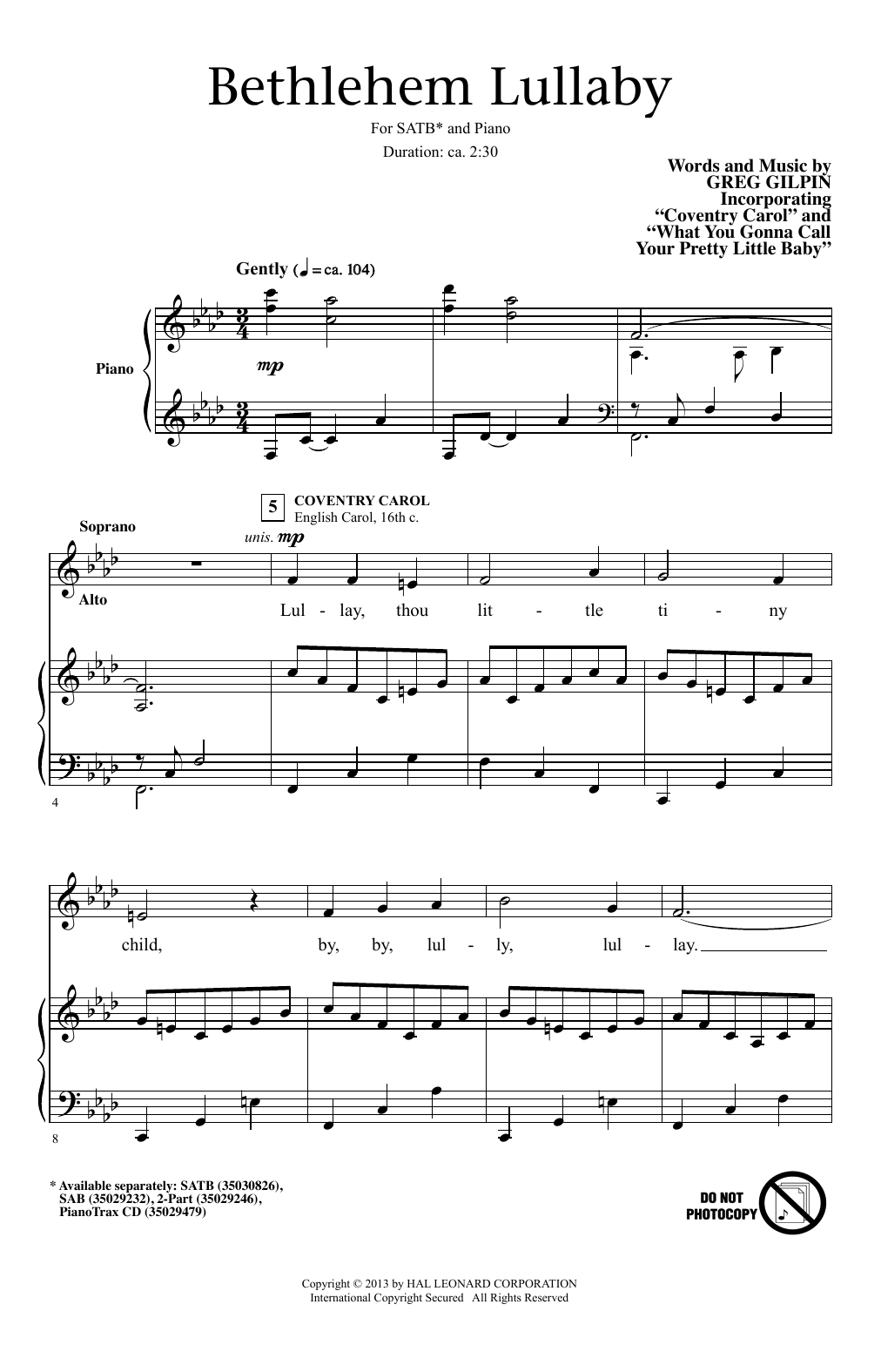 Partition chorale Bethlehem Lullaby de Greg Gilpin - SATB