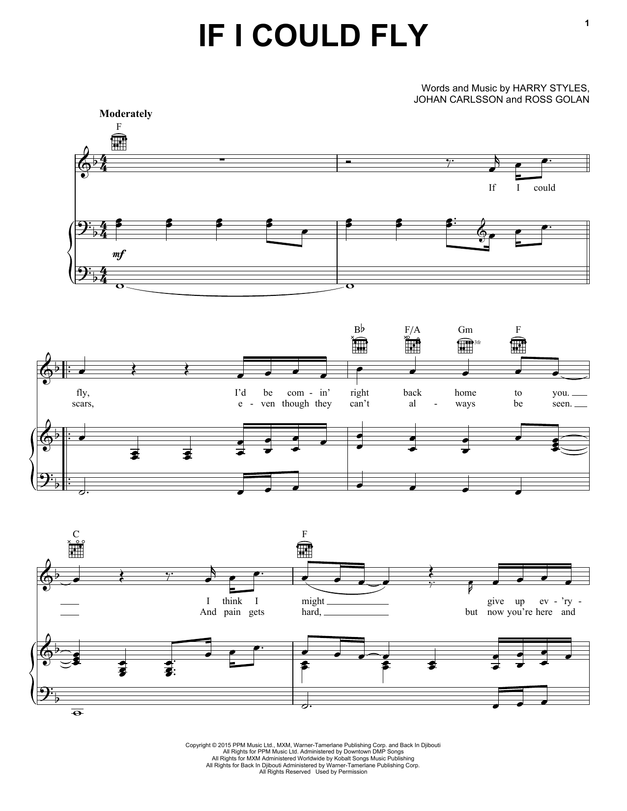 Partition piano If I Could Fly de One Direction - Piano Voix Guitare (Mélodie Main Droite)