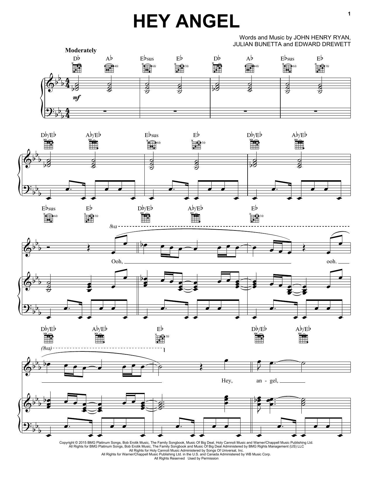 Partition piano Hey Angel de One Direction - Piano Voix Guitare (Mélodie Main Droite)