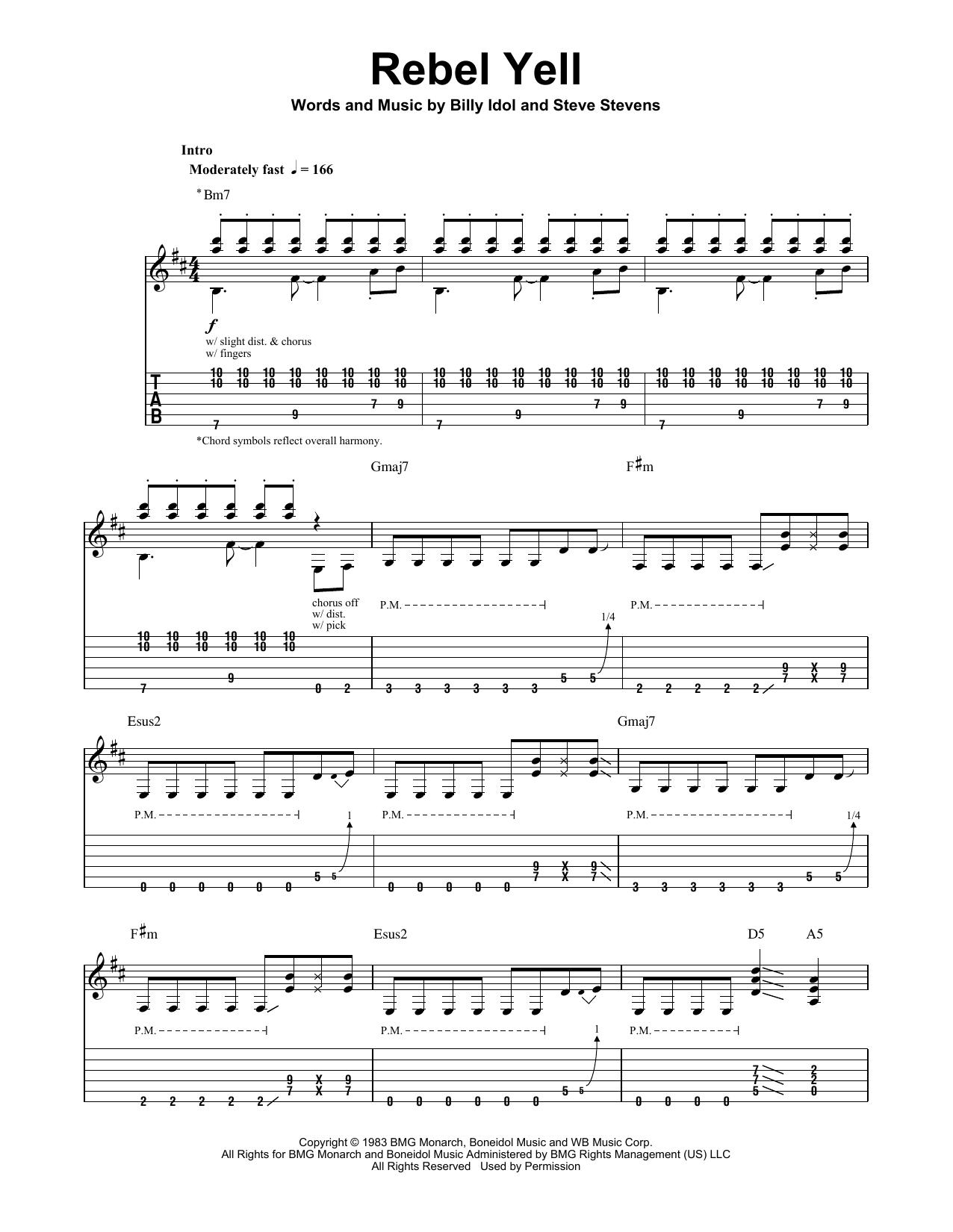 Tablature guitare Rebel Yell de Billy Idol - Tablature Guitare