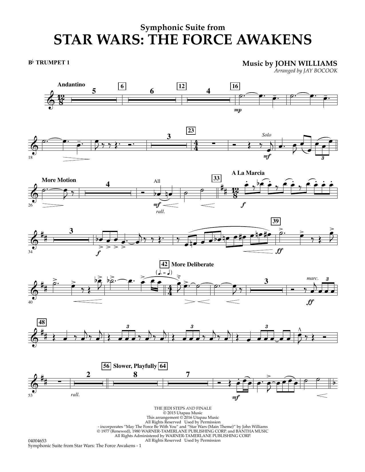 John Williams - Symphonic Suite from Star Wars: The Force Awakens - Bb Trumpet 1