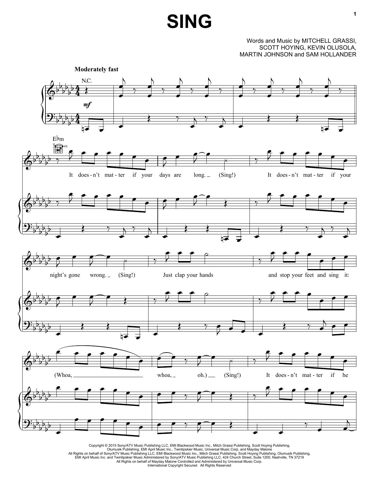 Partition piano Sing de Pentatonix - Piano Voix Guitare (Mélodie Main Droite)