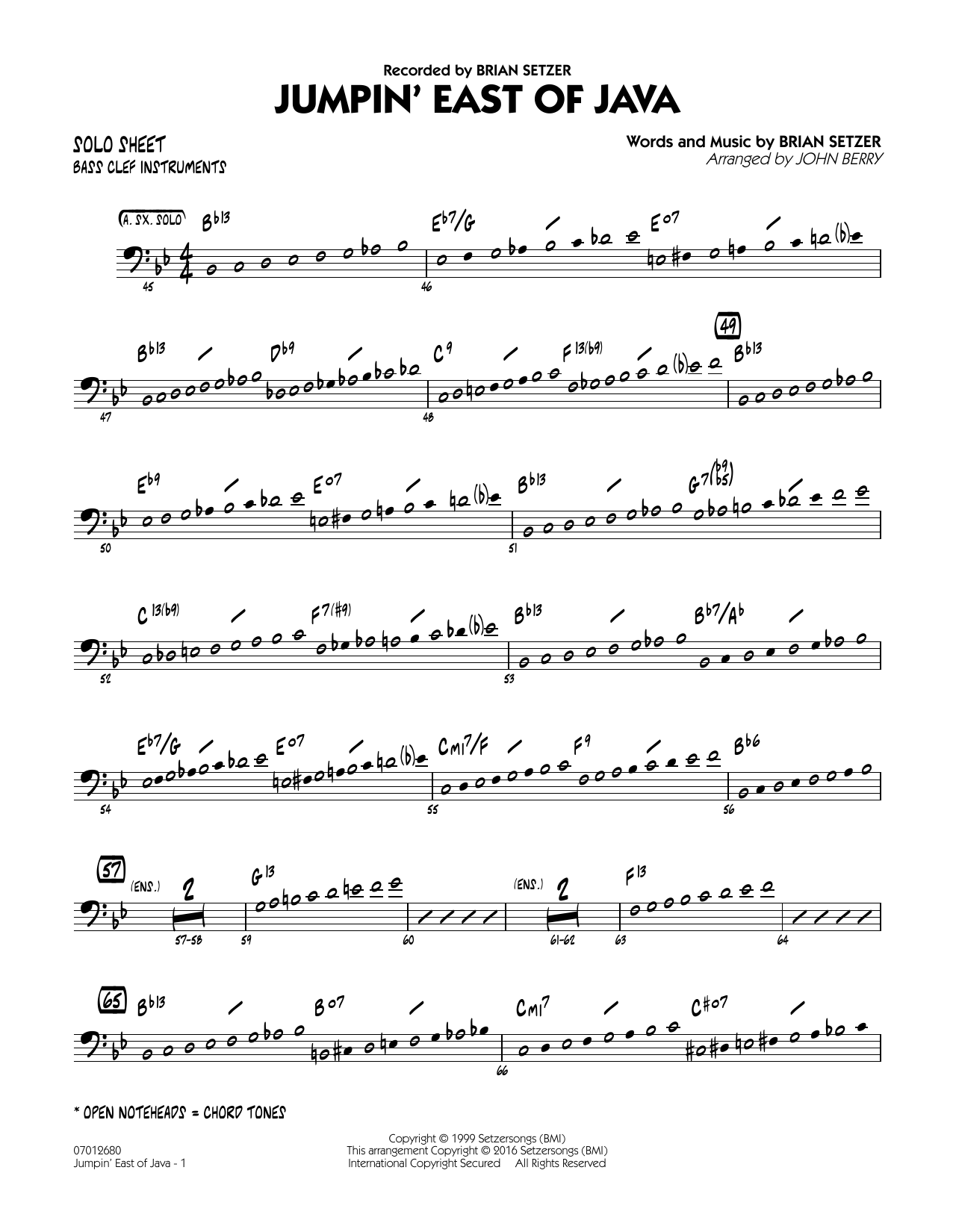 Brian Setzer - Jumpin' East of Java - Bass Clef Solo Sheet