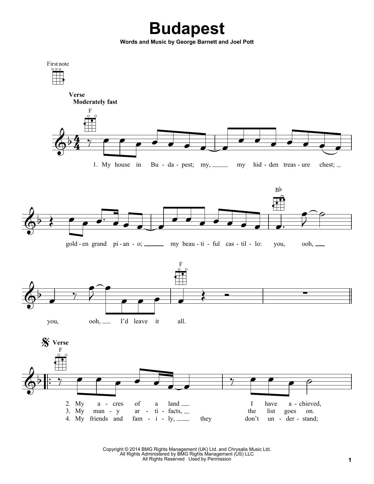 Tablature guitare Budapest de George Ezra - Ukulele