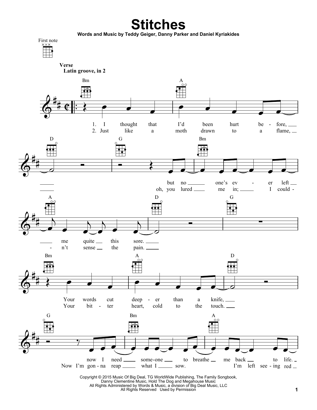 Stitches : Sheet Music Direct