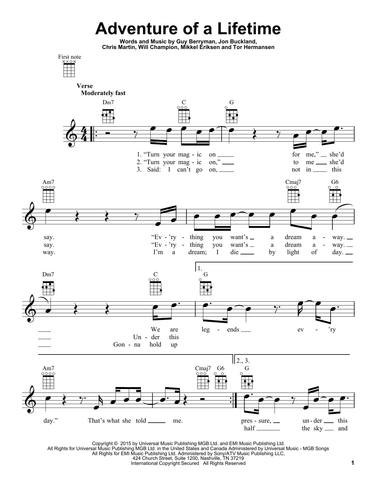 Tablature guitare Adventure Of A Lifetime de Coldplay - Ukulele