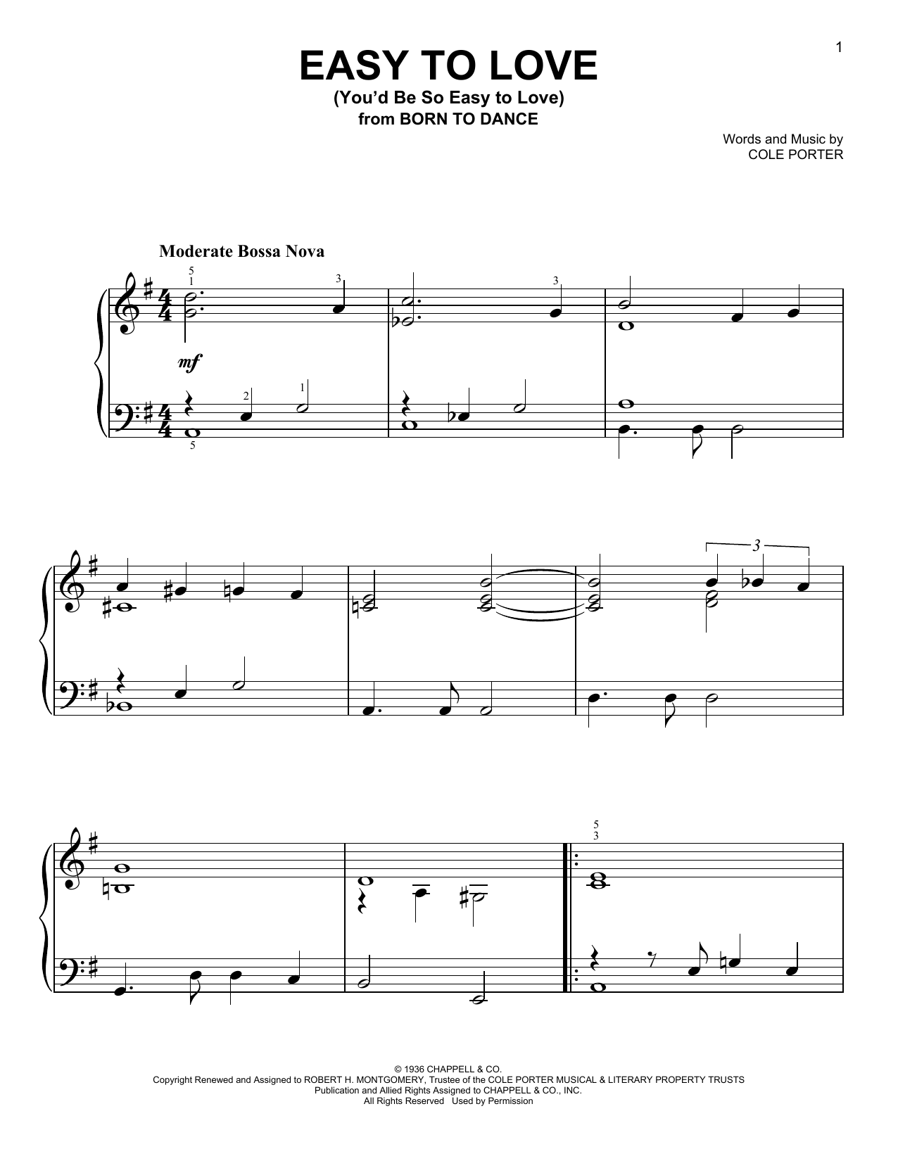 Partition piano Easy To Love (You'd Be So Easy To Love) de Cole Porter - Piano Facile