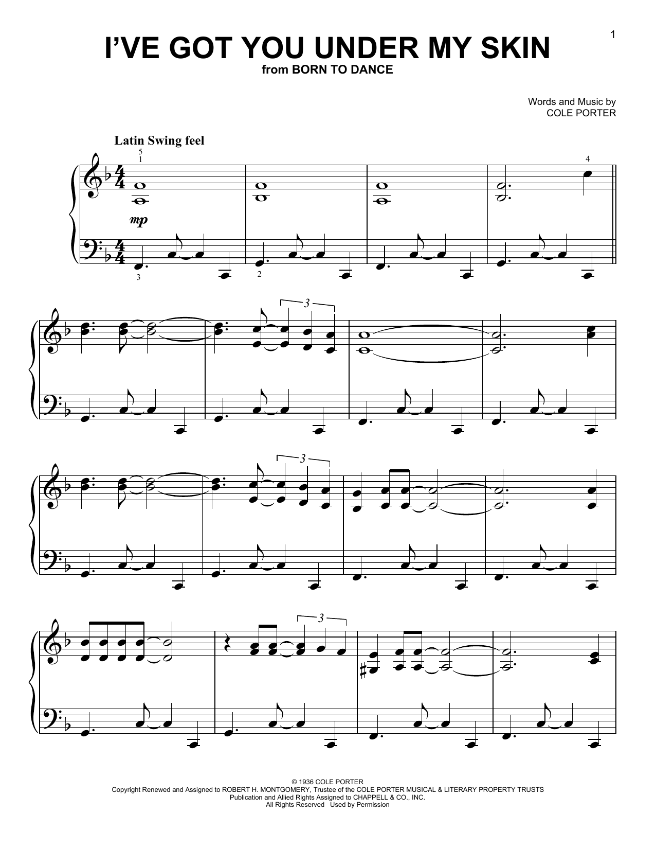 Partition piano I've Got You Under My Skin de Cole Porter - Piano Facile