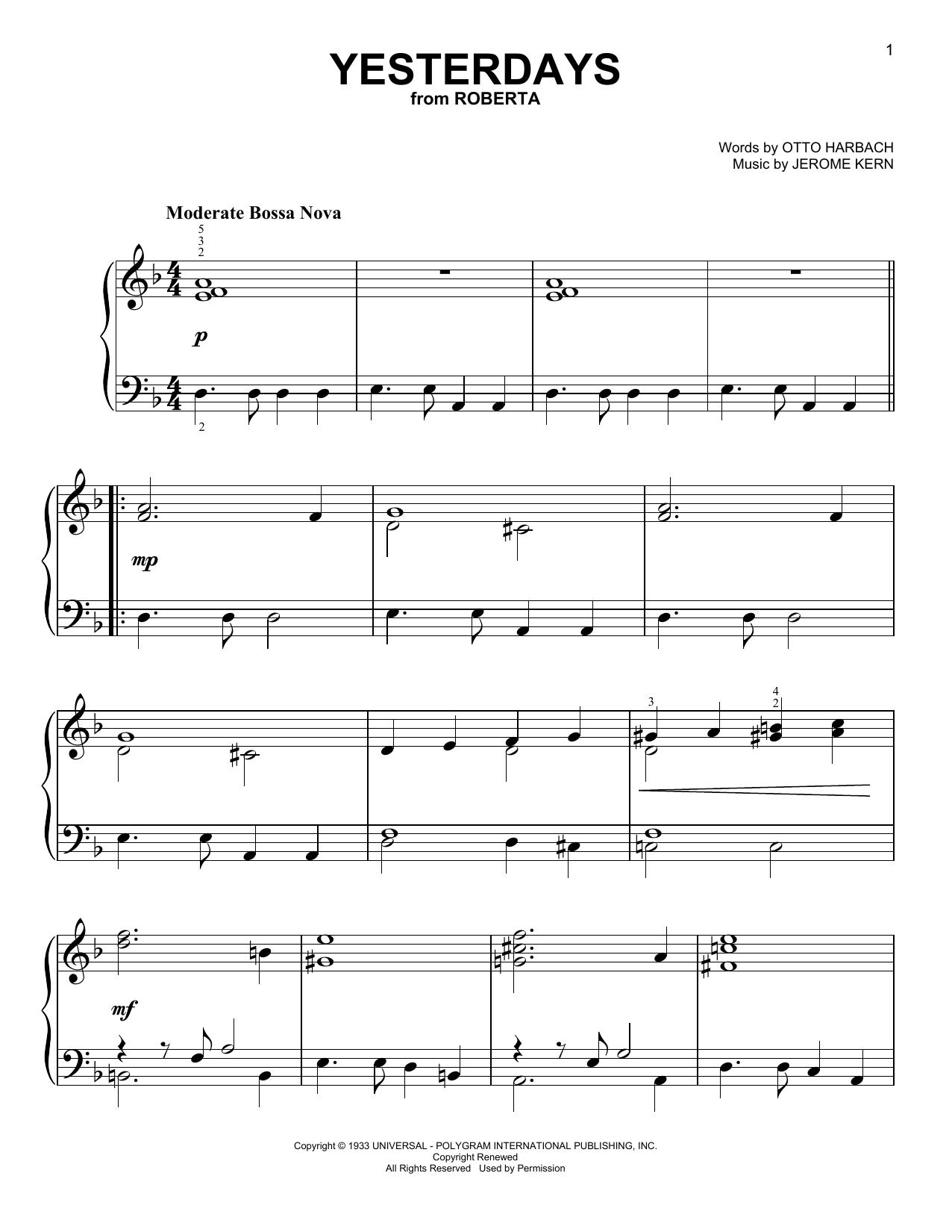 Partition piano Yesterdays de Jerome Kern - Piano Facile