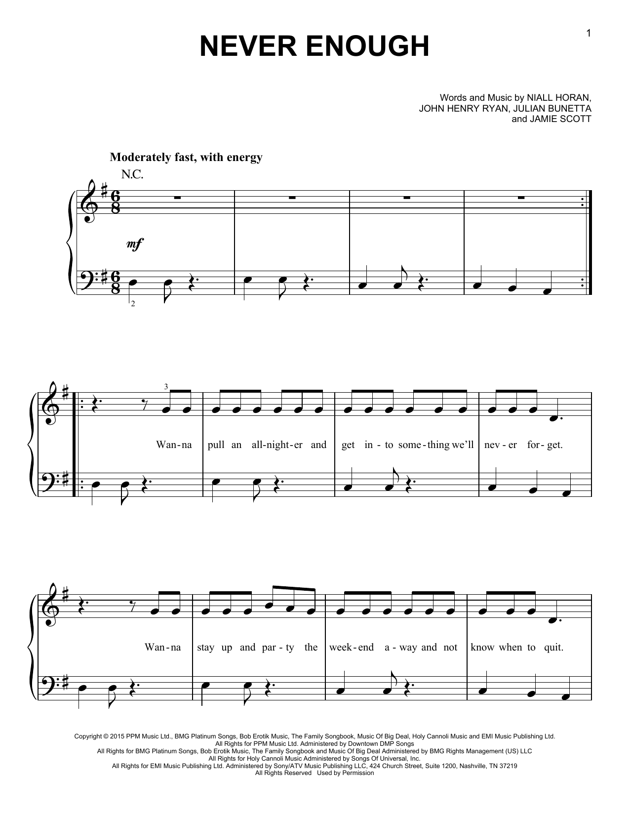 Partition piano Never Enough de One Direction - Piano Facile
