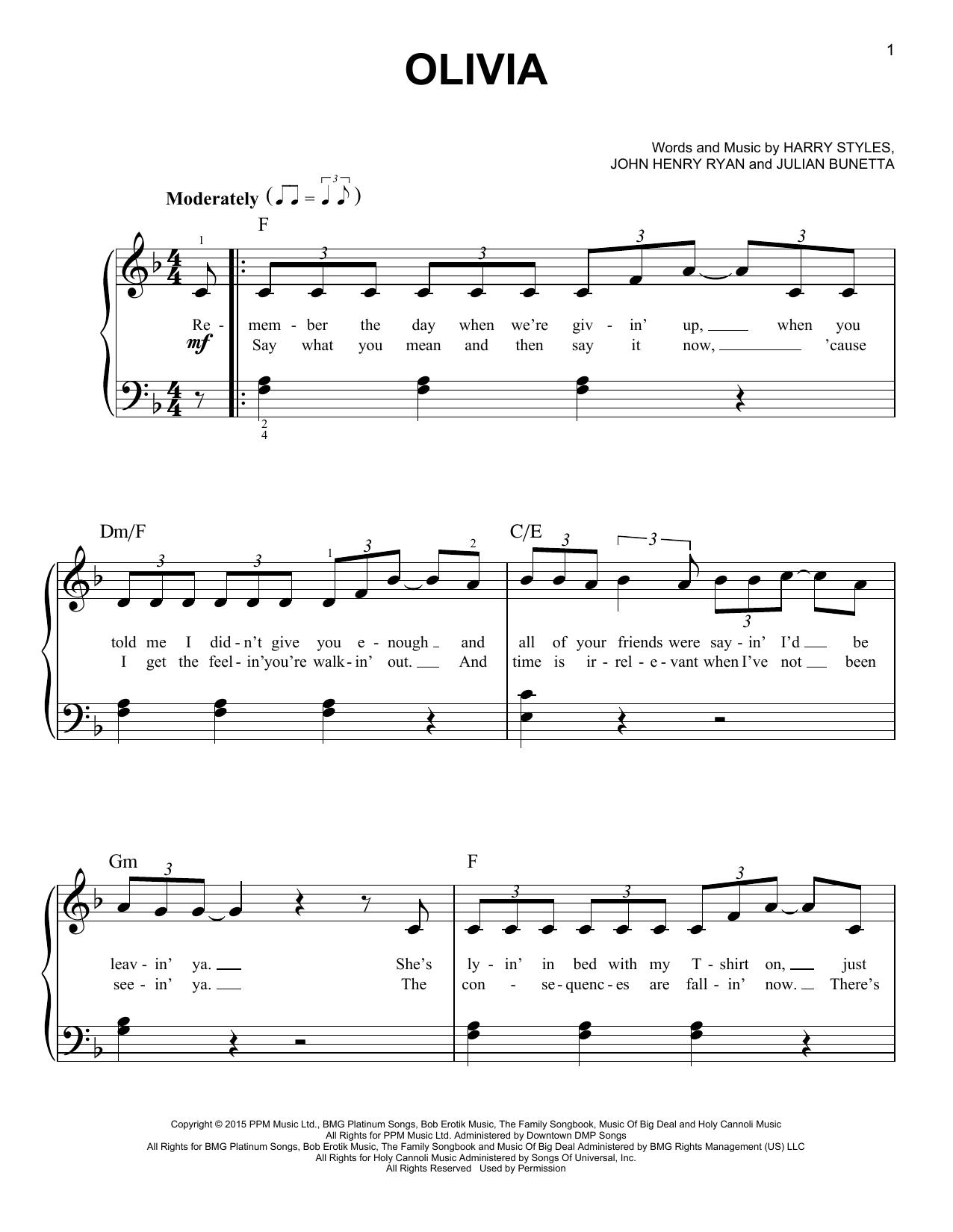Partition piano Olivia de One Direction - Piano Facile