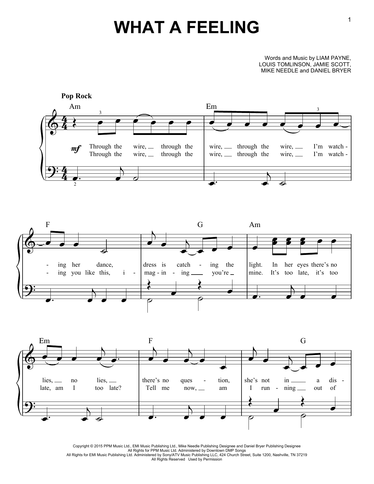 Partition piano What A Feeling de One Direction - Piano Facile