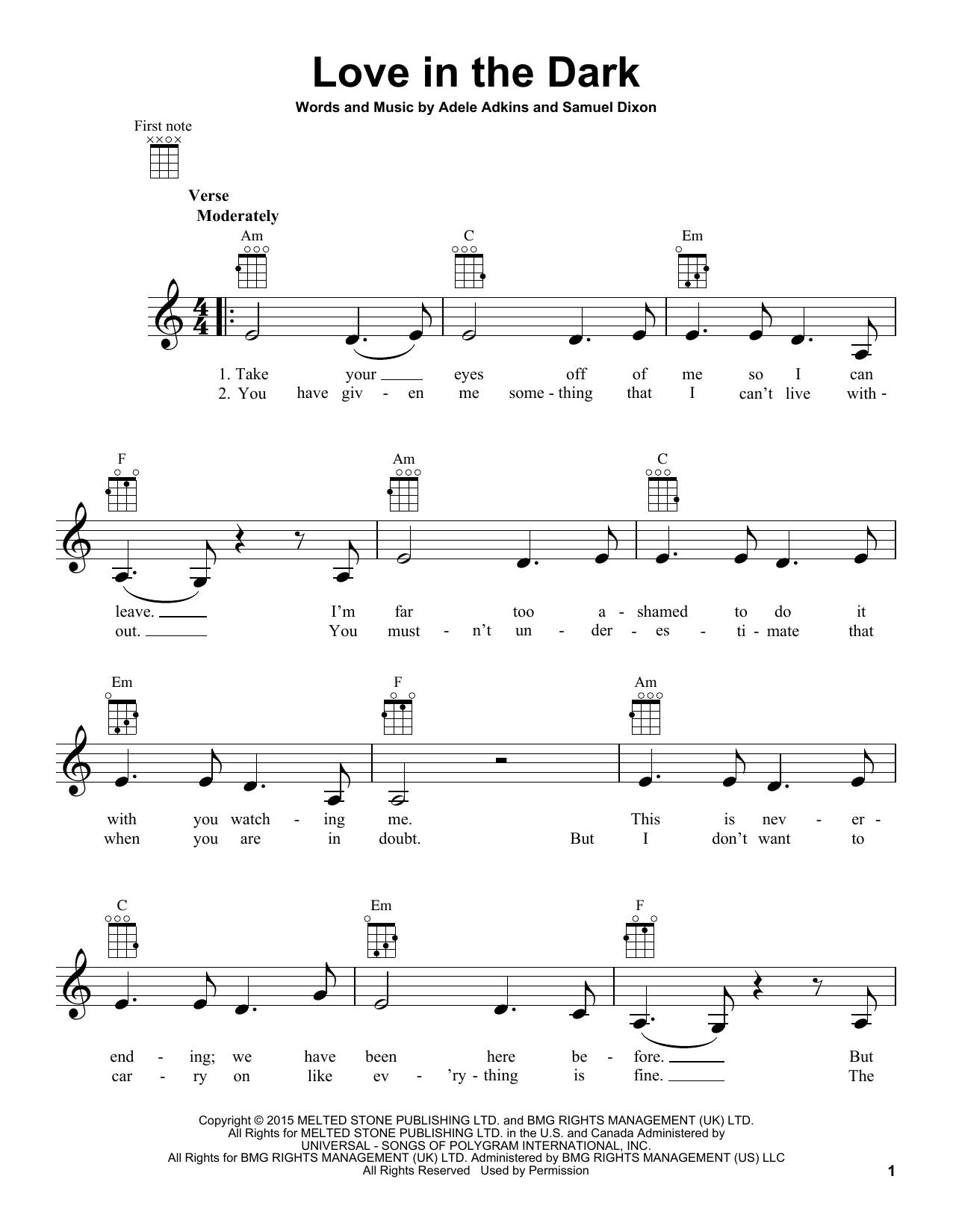 Tablature guitare Love In The Dark de Adele - Ukulele