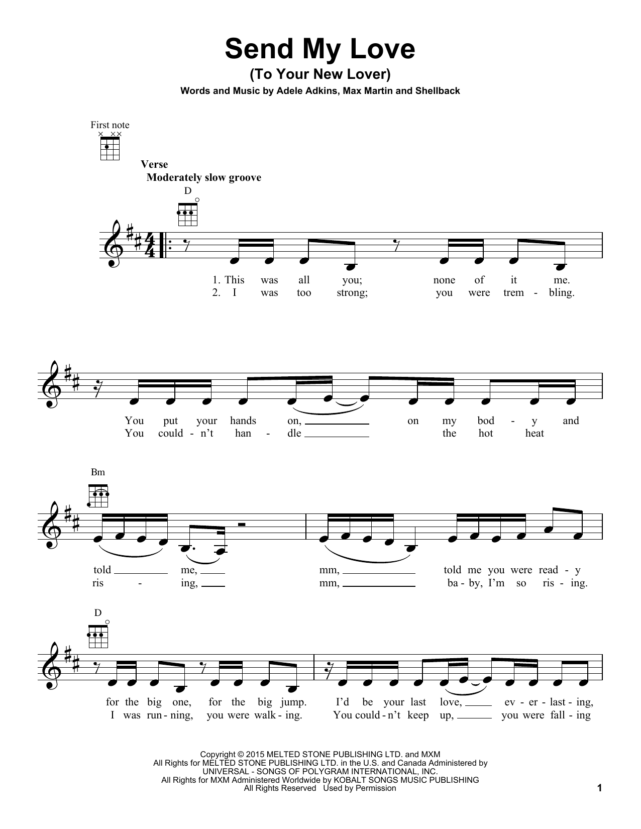 Tablature guitare Send My Love (To Your New Lover) de Adele - Ukulele