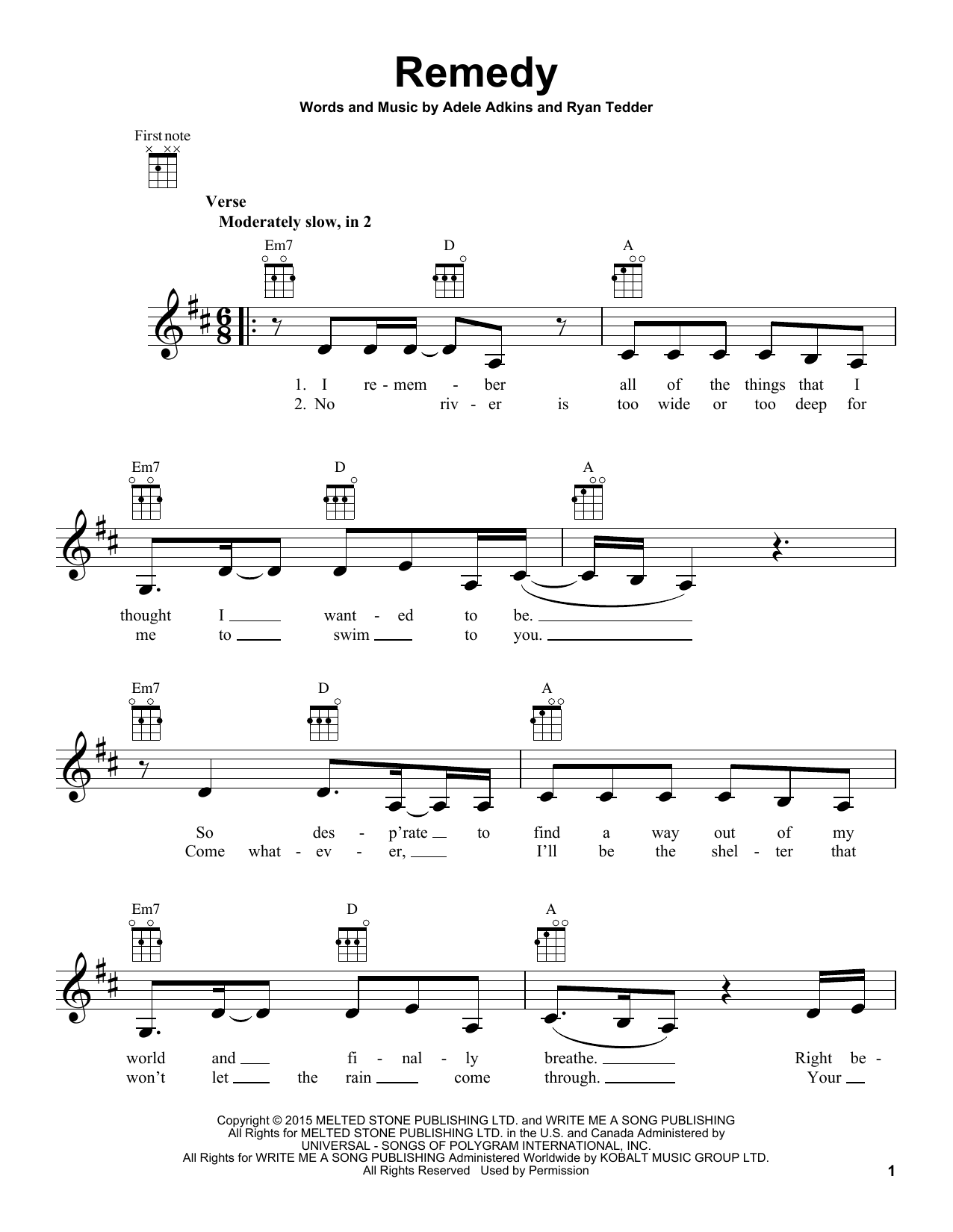 Tablature guitare Remedy de Adele - Ukulele