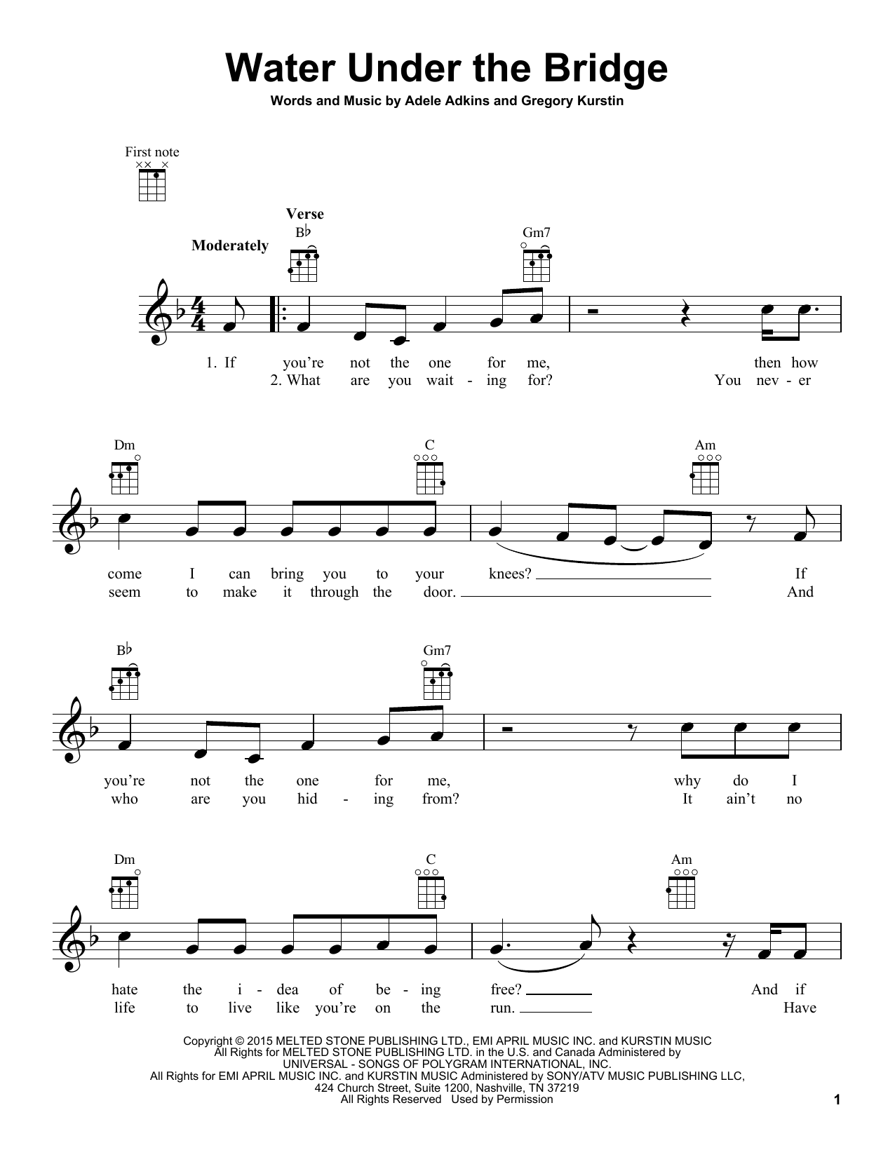 Tablature guitare Water Under The Bridge de Adele - Ukulele