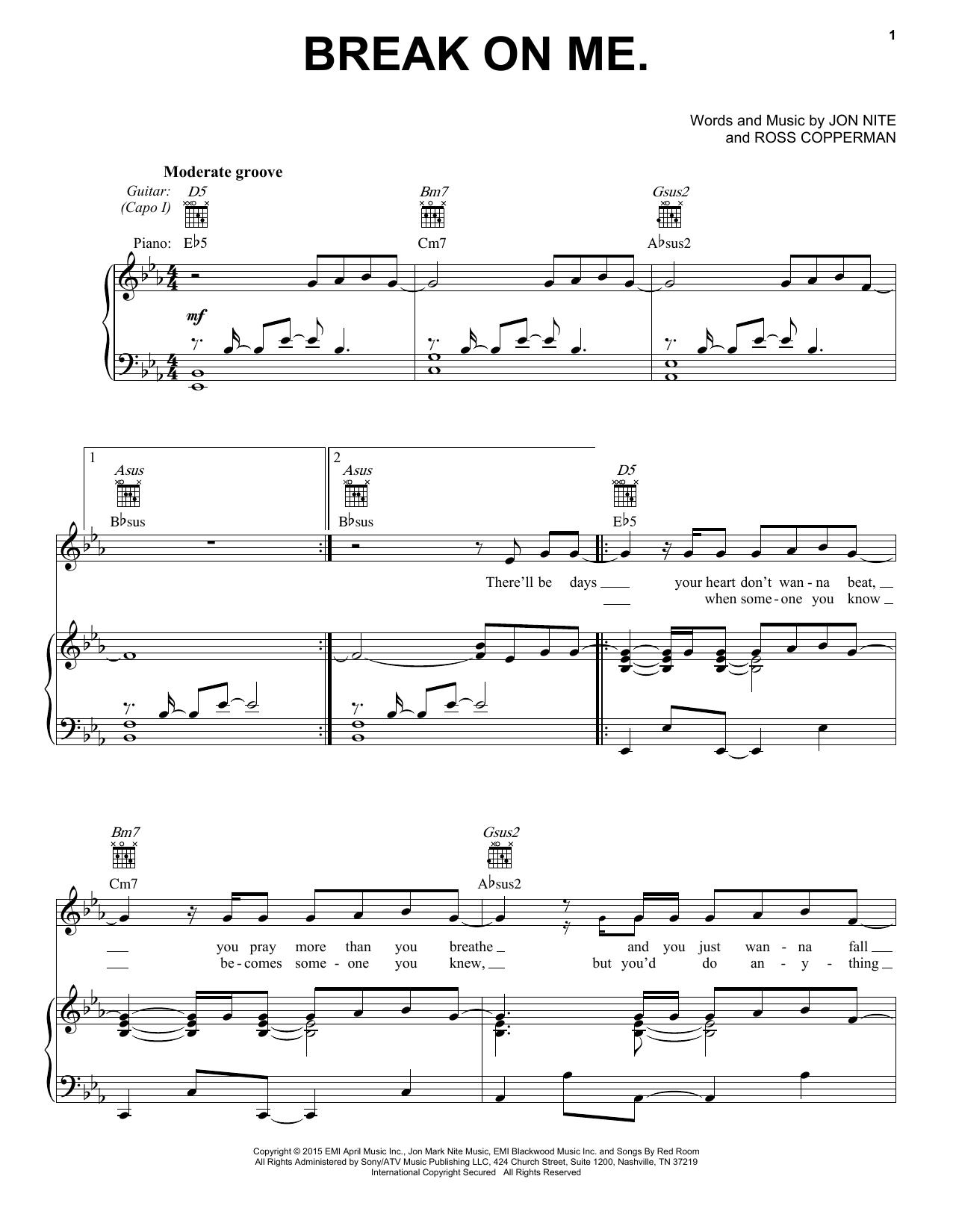 Partition piano Break On Me de Keith Urban - Piano Voix Guitare (Mélodie Main Droite)