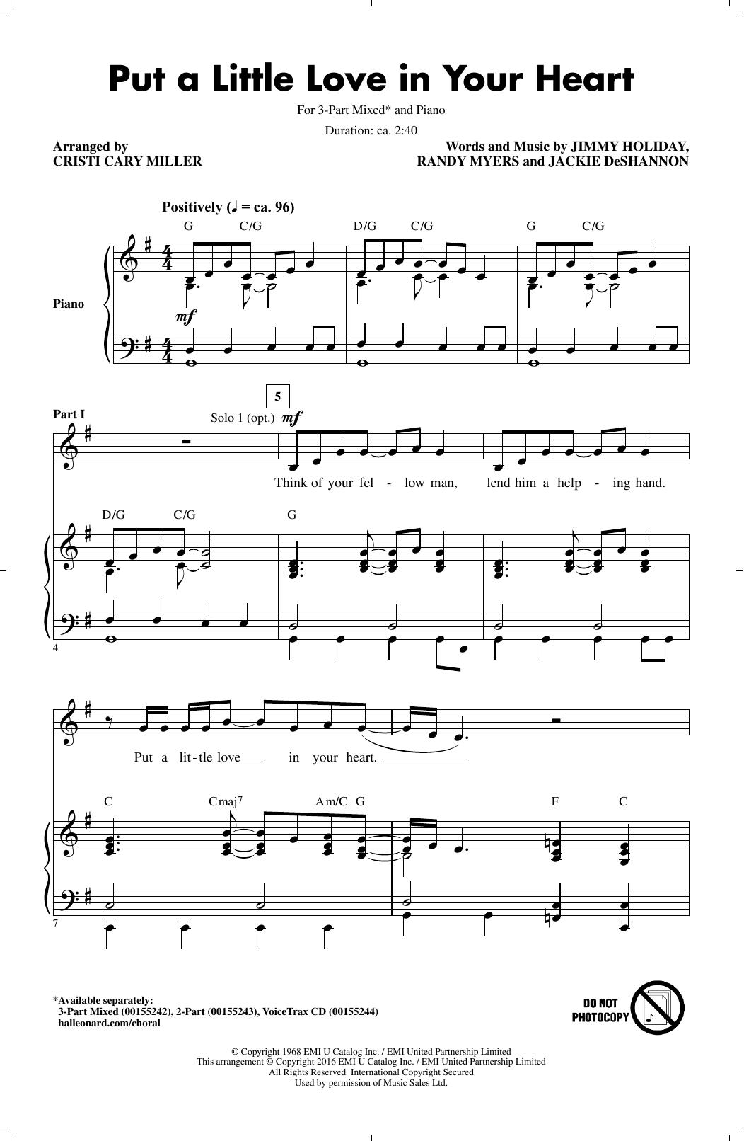 Partition chorale Put A Little Love In Your Heart de  - 3 voix mixtes