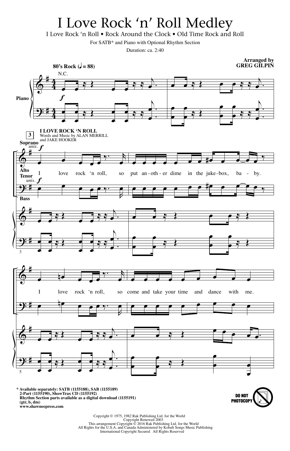 Partition chorale I Love Rock 'N Roll de Alan Merrill - SATB