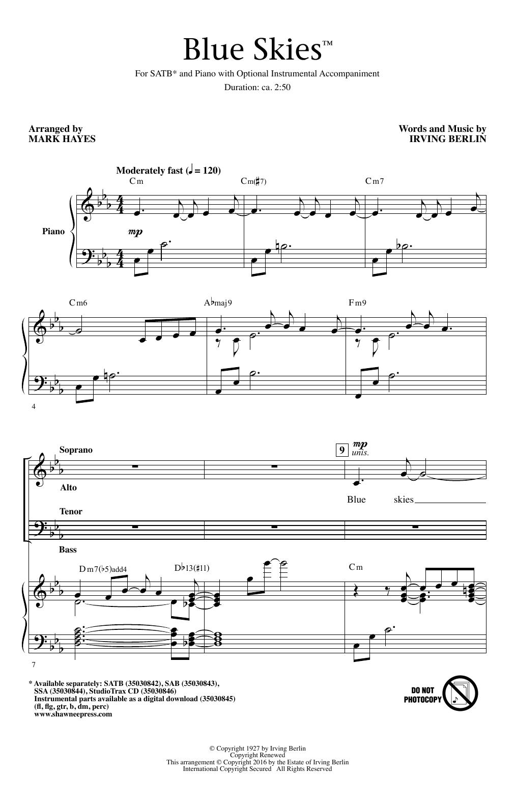 Partition chorale Blue Skies de Willie Nelson - SATB