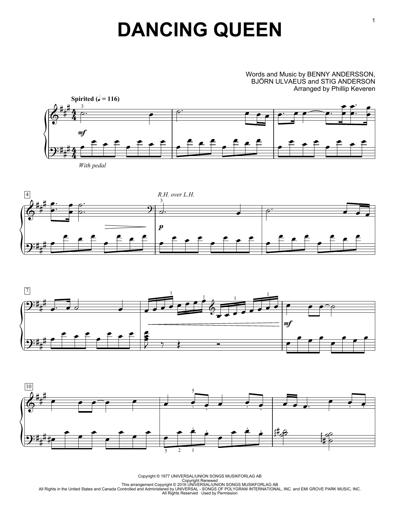 Partition piano Dancing Queen de Phillip Keveren - Piano Solo