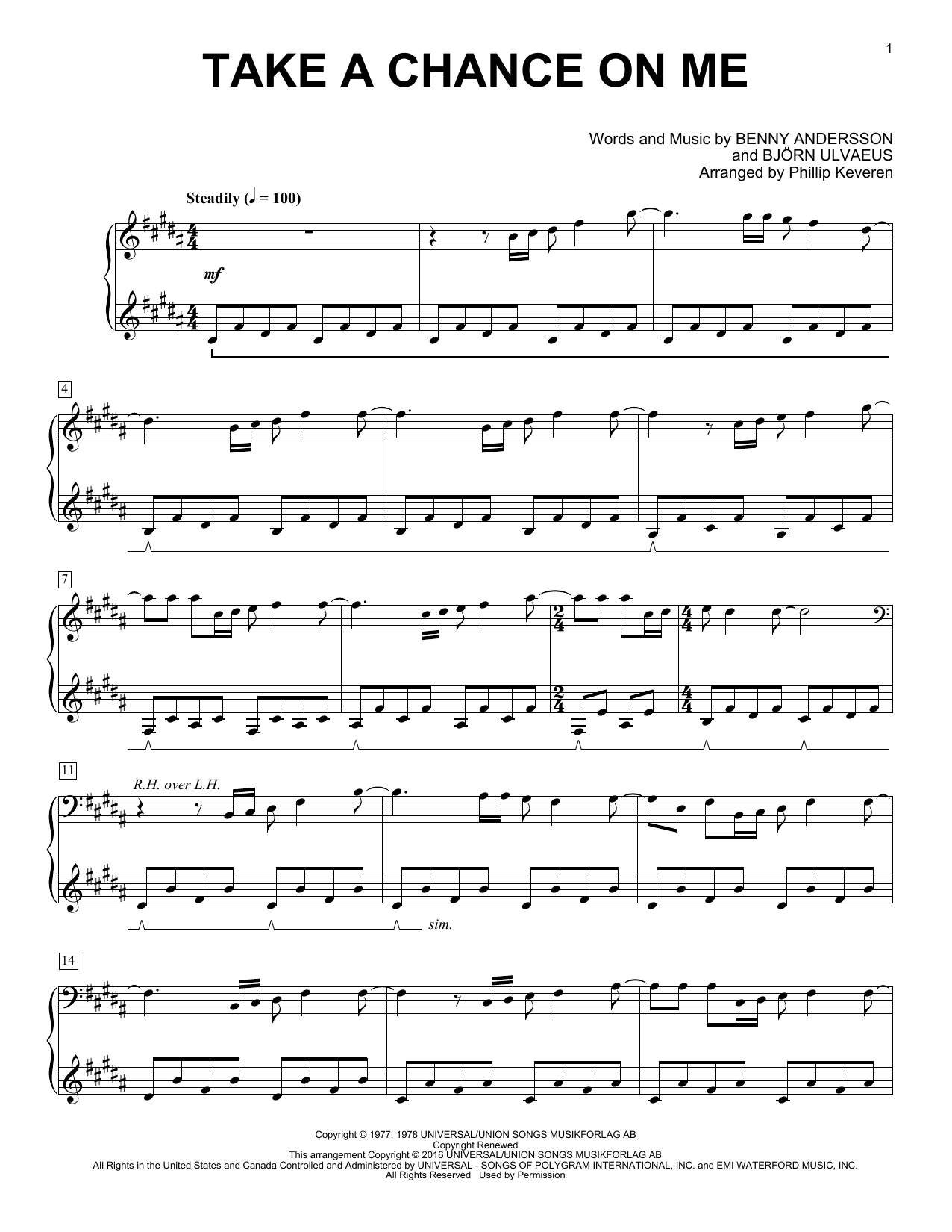 Partition piano Take A Chance On Me de Phillip Keveren - Piano Solo