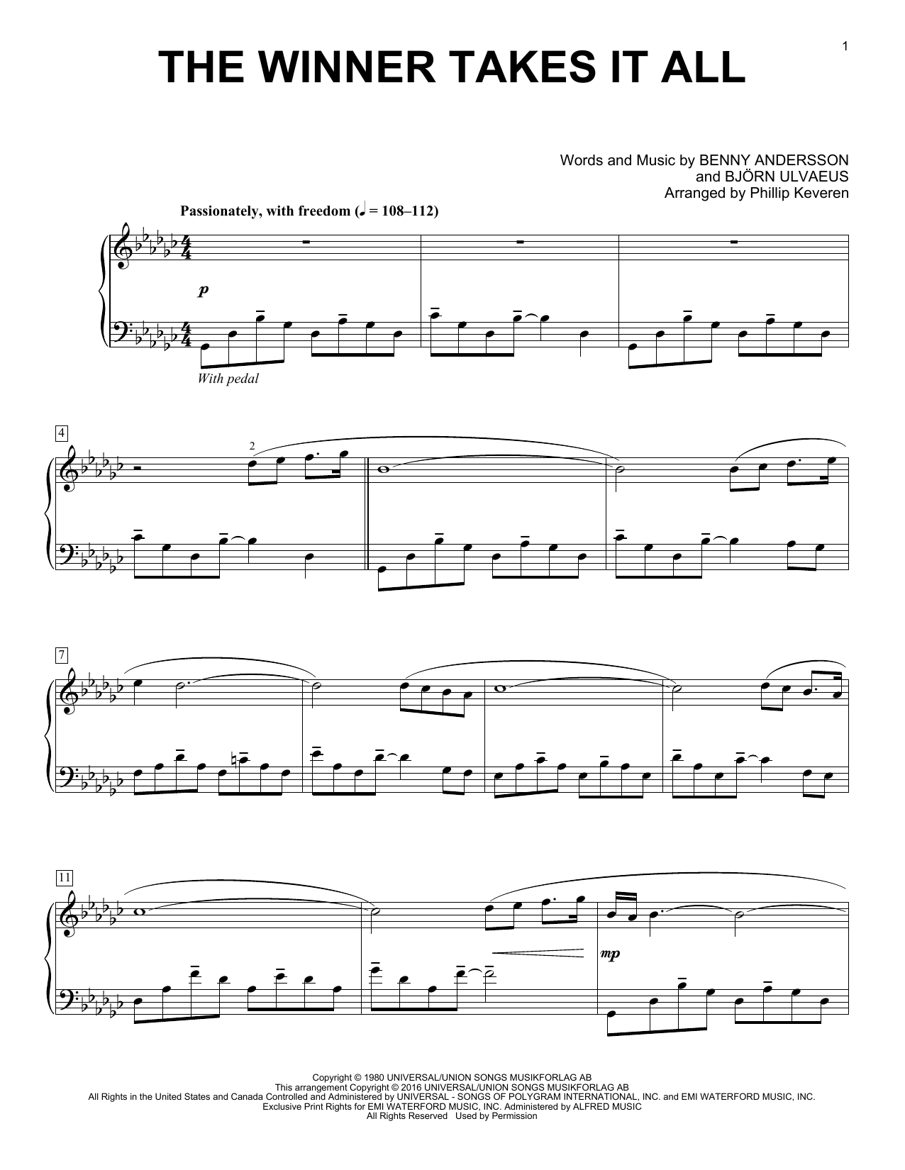 Partition piano The Winner Takes It All de Phillip Keveren - Piano Solo