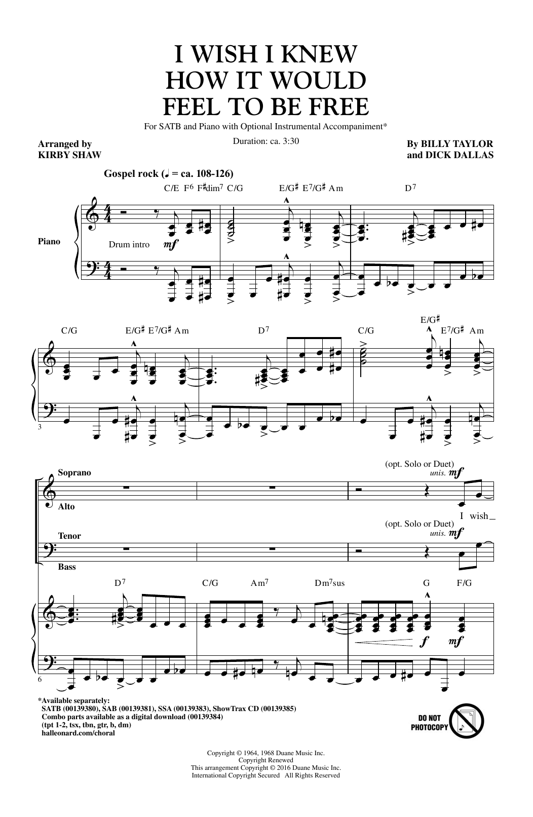 Partition chorale I Wish I Knew How It Would Feel To Be Free de Billy Taylor - SATB