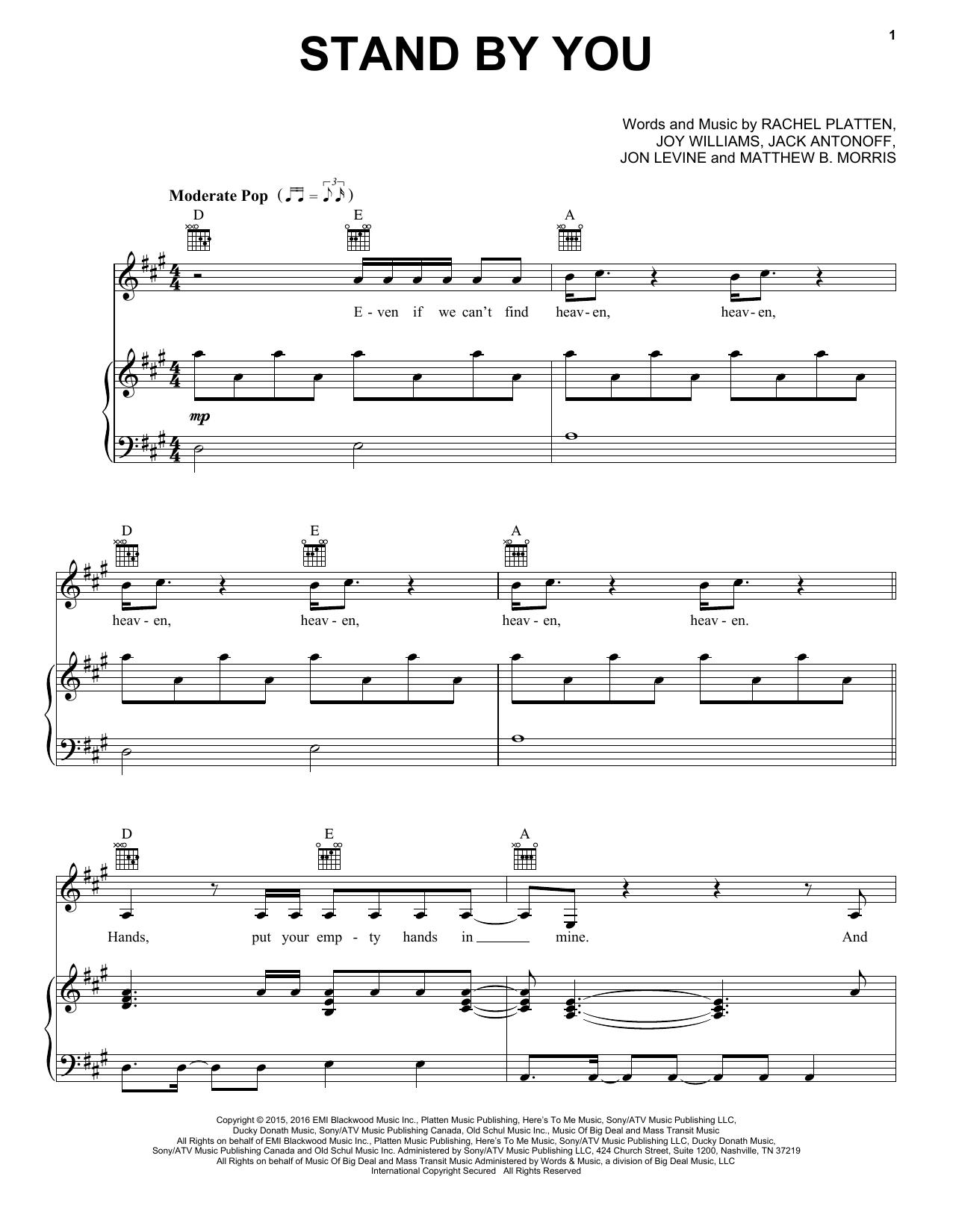 Partition piano Stand By You de Rachel Platten - Piano Voix Guitare (Mélodie Main Droite)