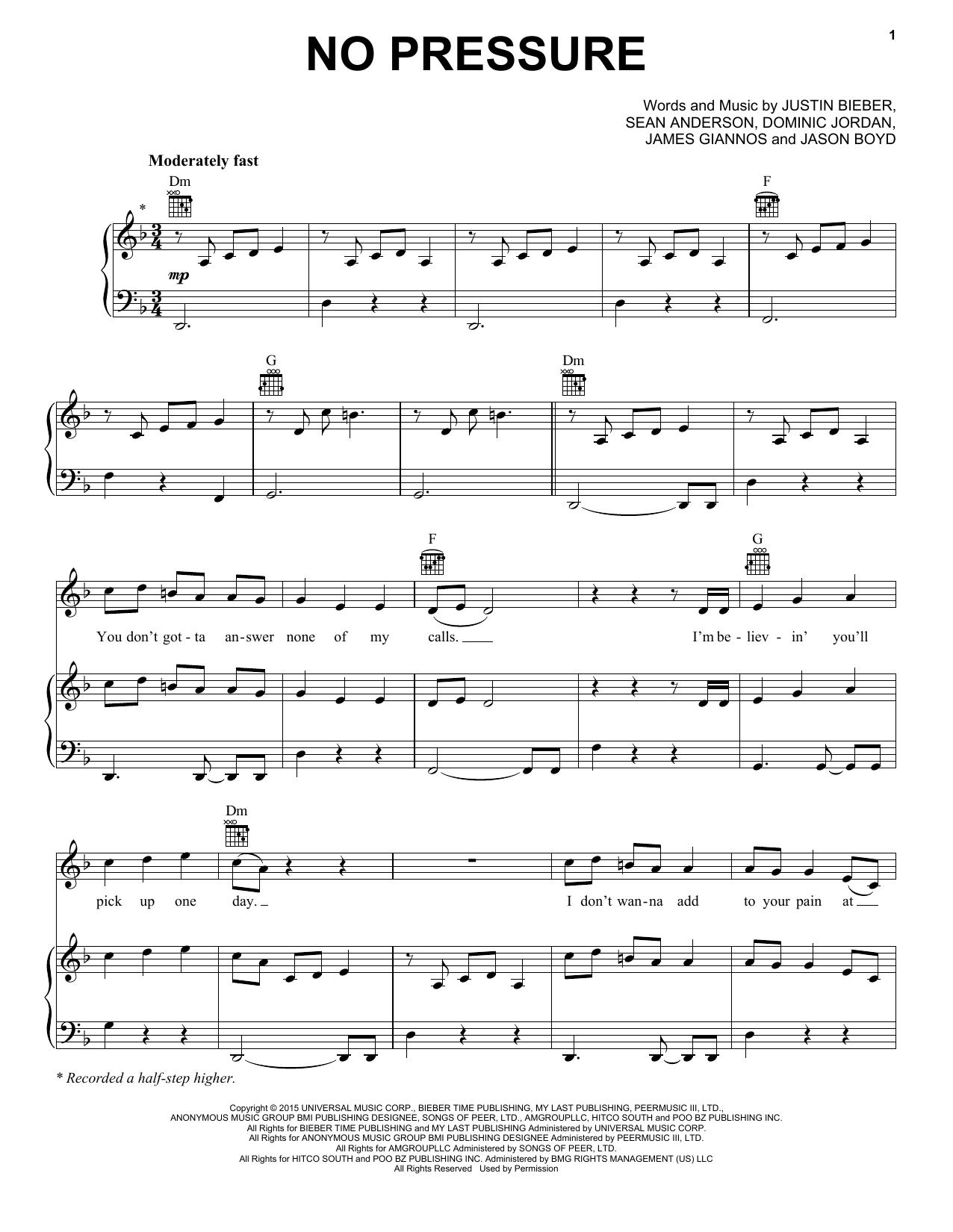 Partition piano No Pressure de Justin Bieber - Piano Voix Guitare (Mélodie Main Droite)