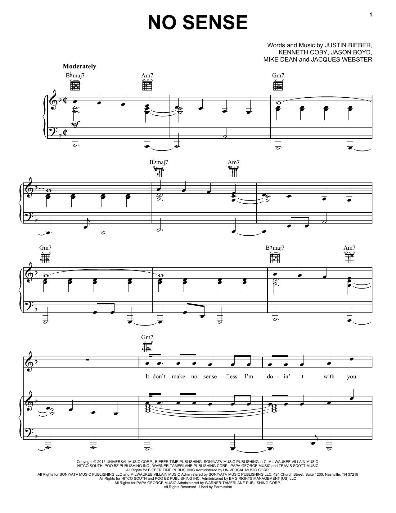 Partition piano No Sense de Justin Bieber - Piano Voix Guitare (Mélodie Main Droite)