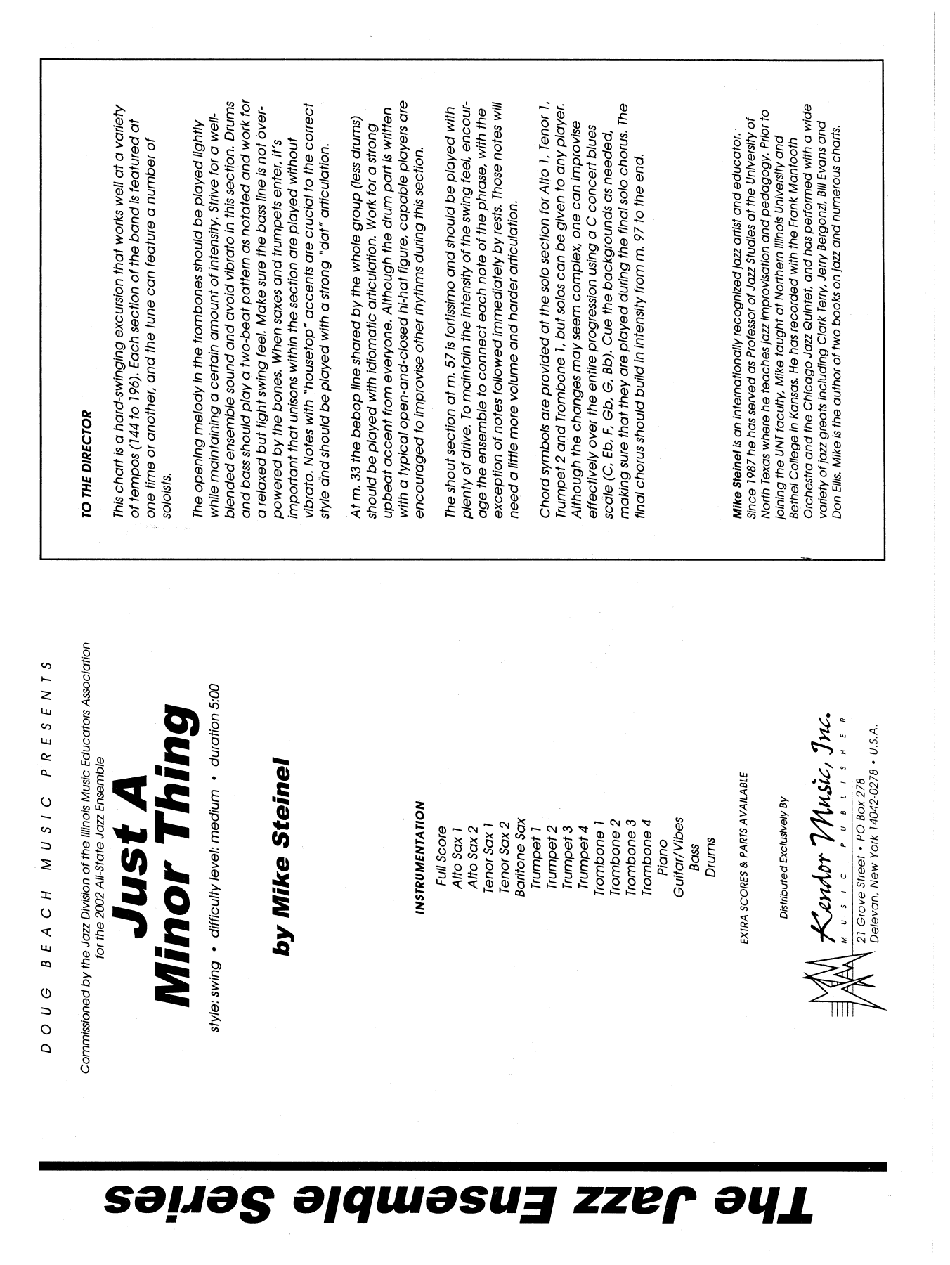 Just A Minor Thing (COMPLETE) sheet music for jazz band by Mike Steinel